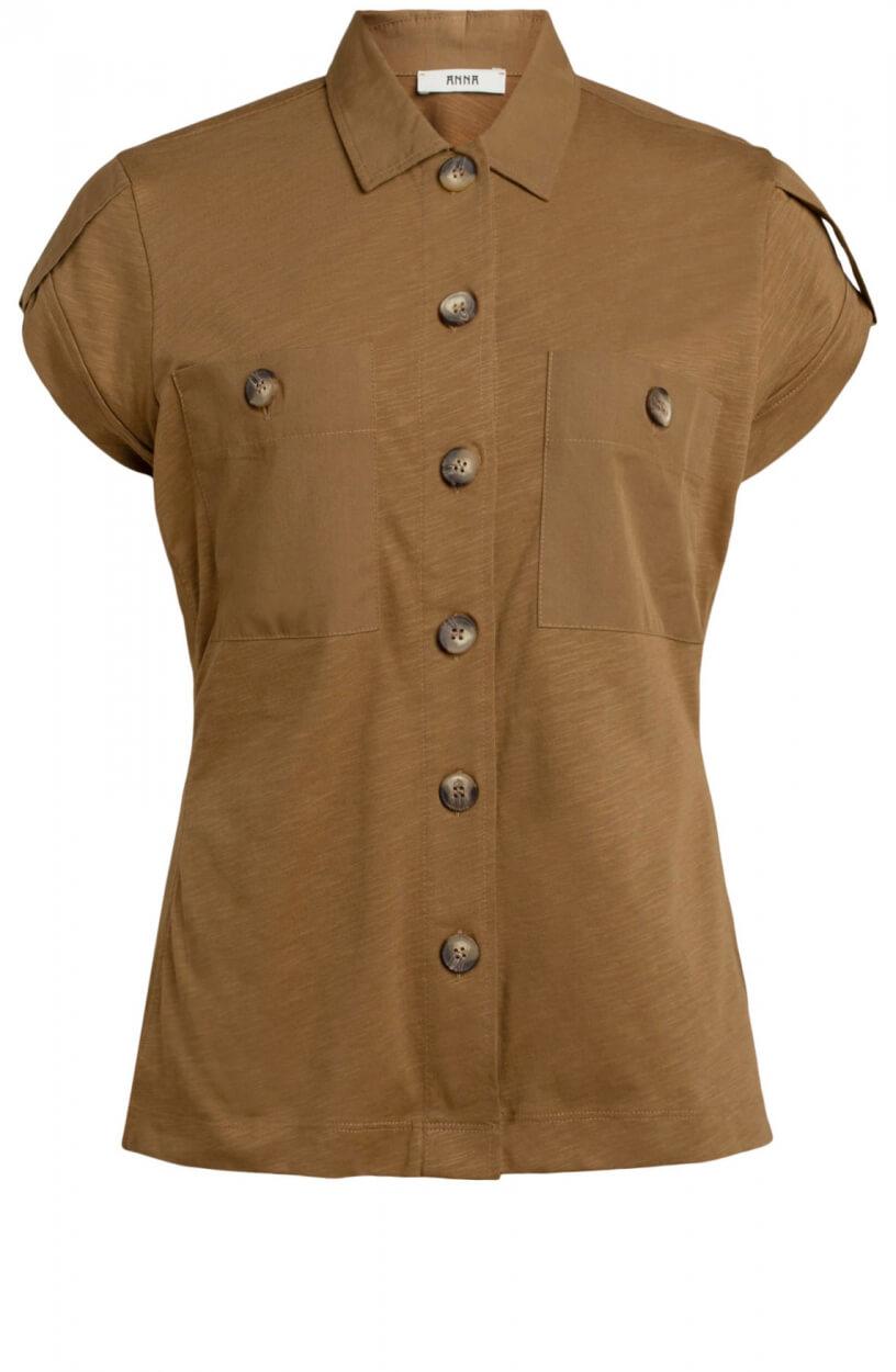 Anna Dames Utility blouse Bruin