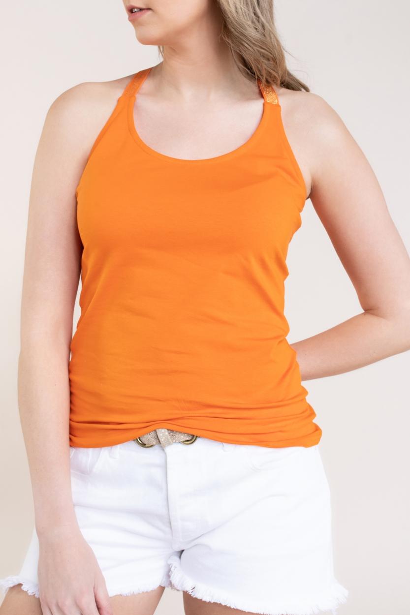 Anna Dames Top met lurex bandjes Oranje