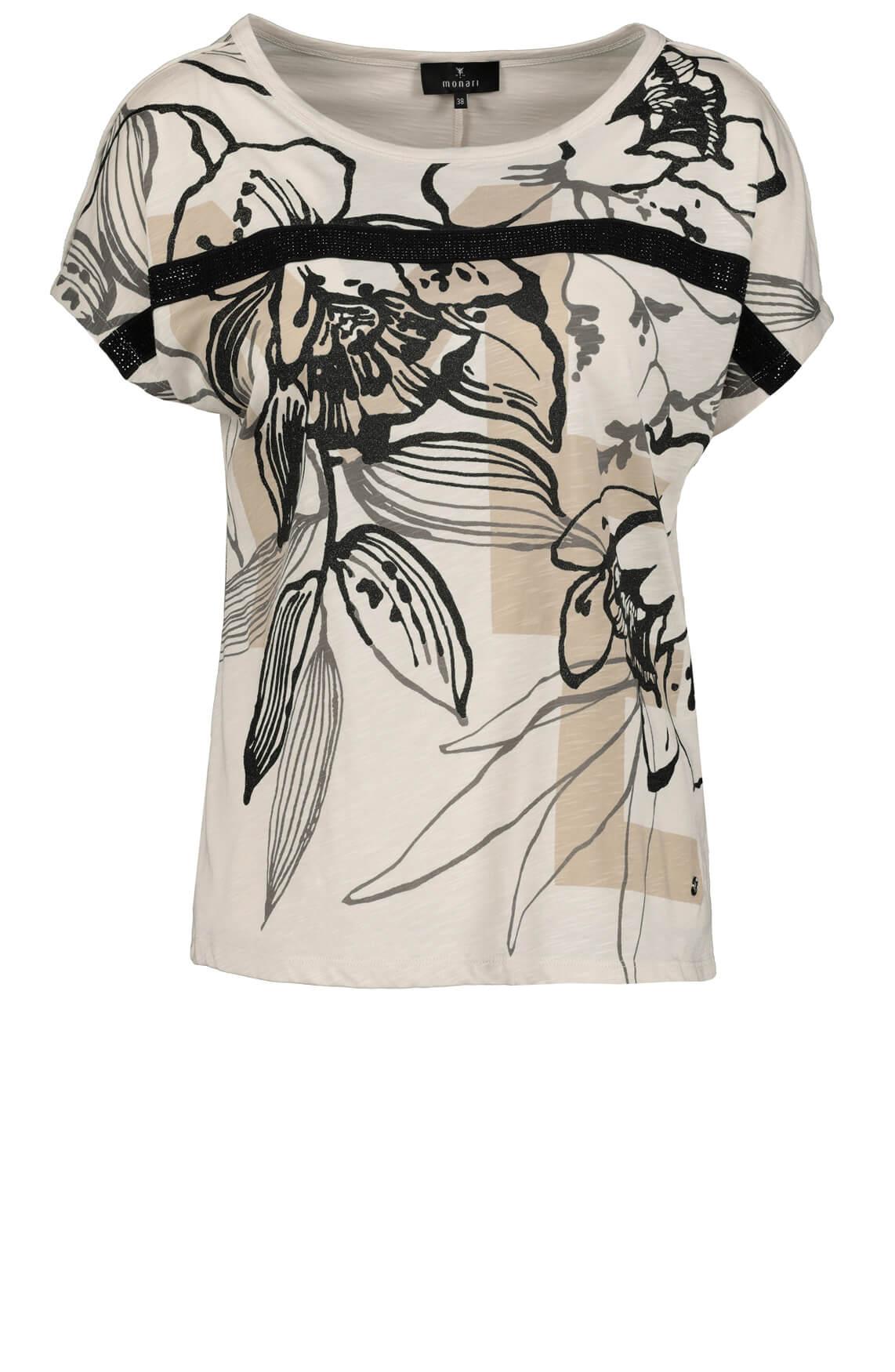 Monari Dames Shirt met bloemenprint Bruin