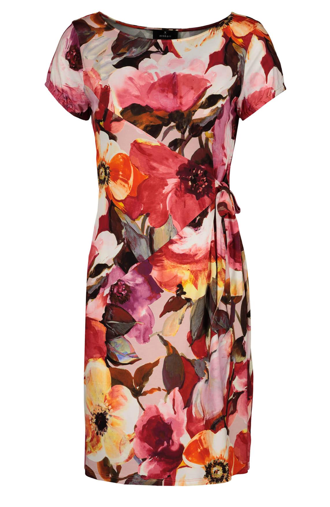 Monari Dames Gebloemde jurk roze