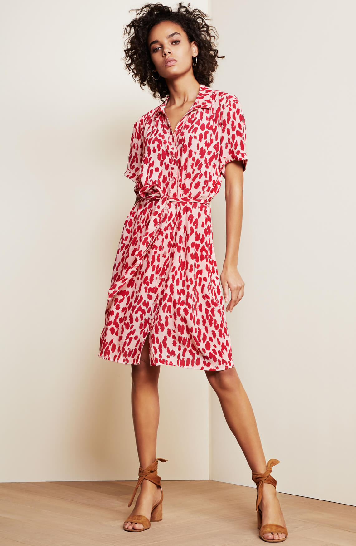 Fabienne Chapot Dames Boyfriend panterprint jurk roze
