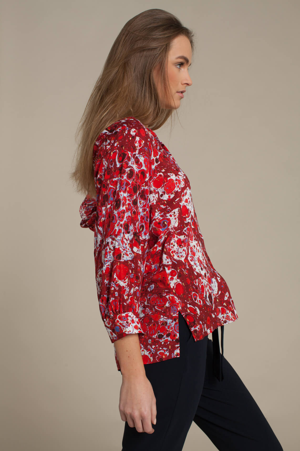 Anna Dames Geprinte blouse Rood