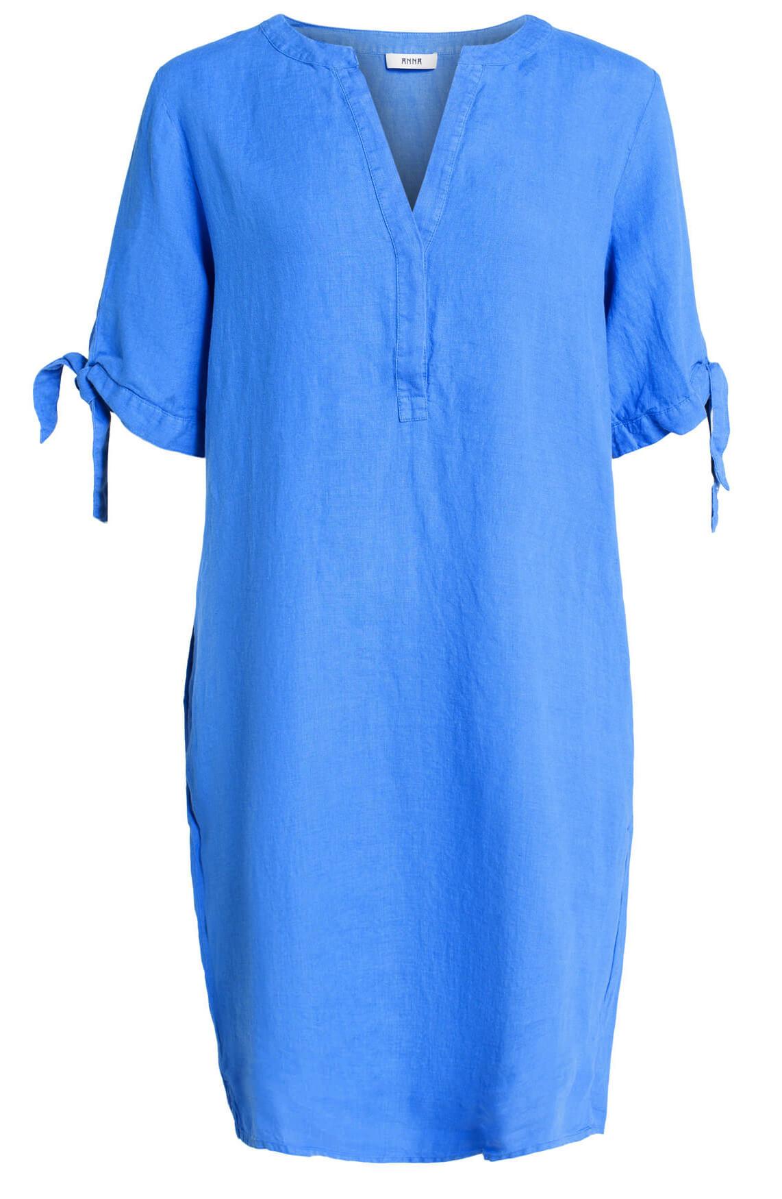 Anna Dames Linnen jurk met knoopdetail Blauw