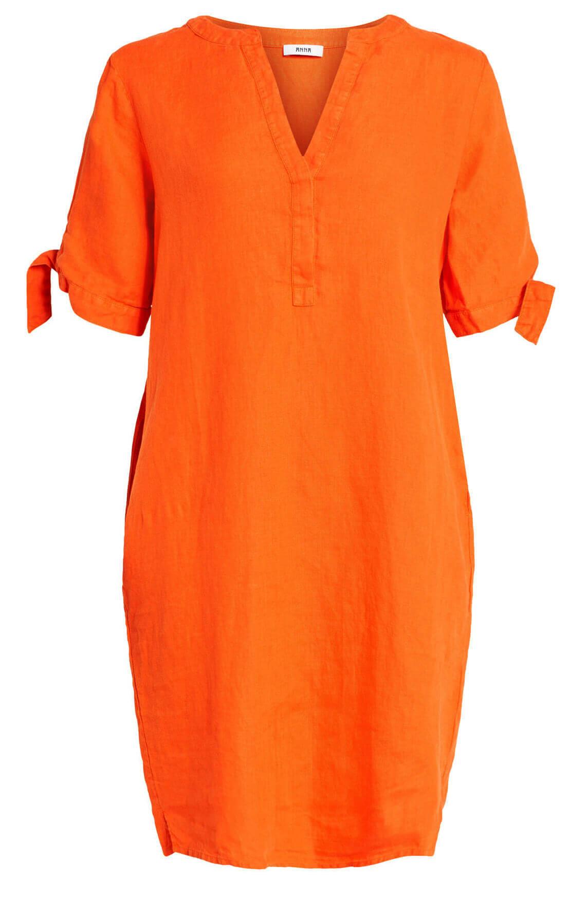 Anna Dames Linnen jurk met knoopdetail Oranje
