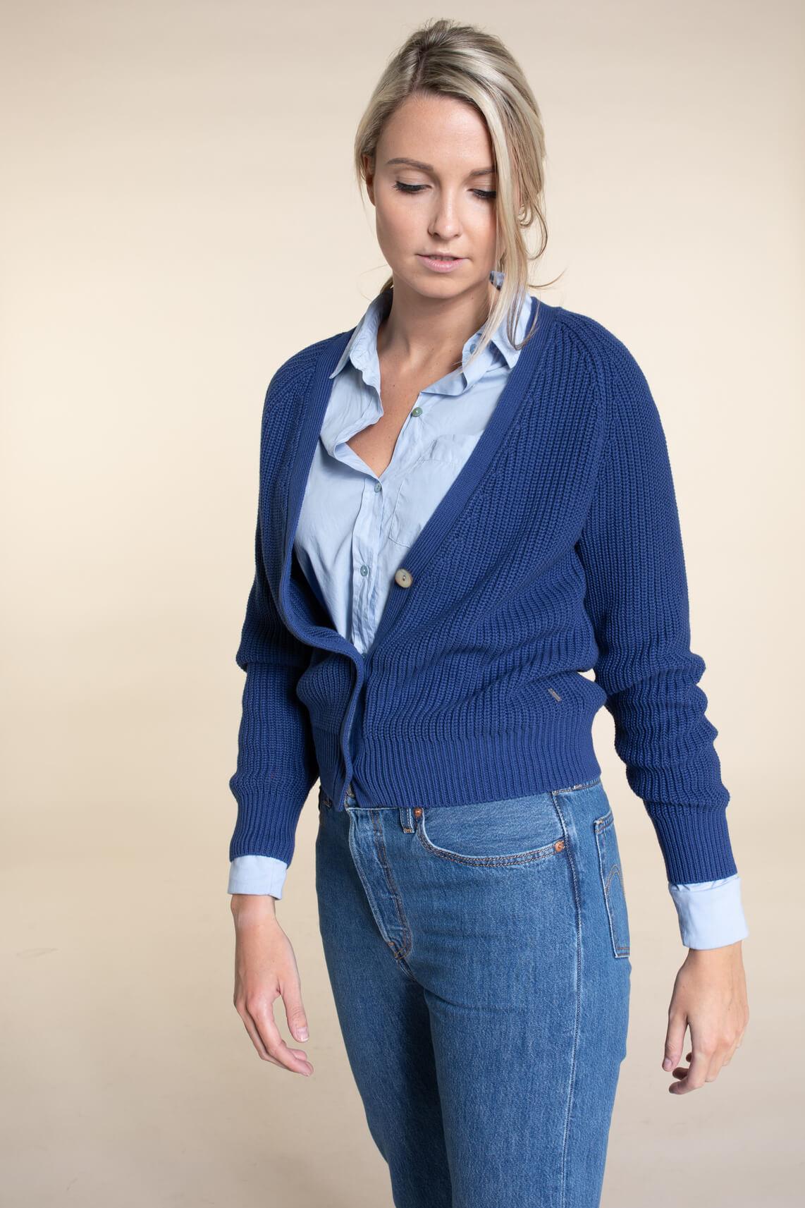 Anna Dames Boxy vest Blauw