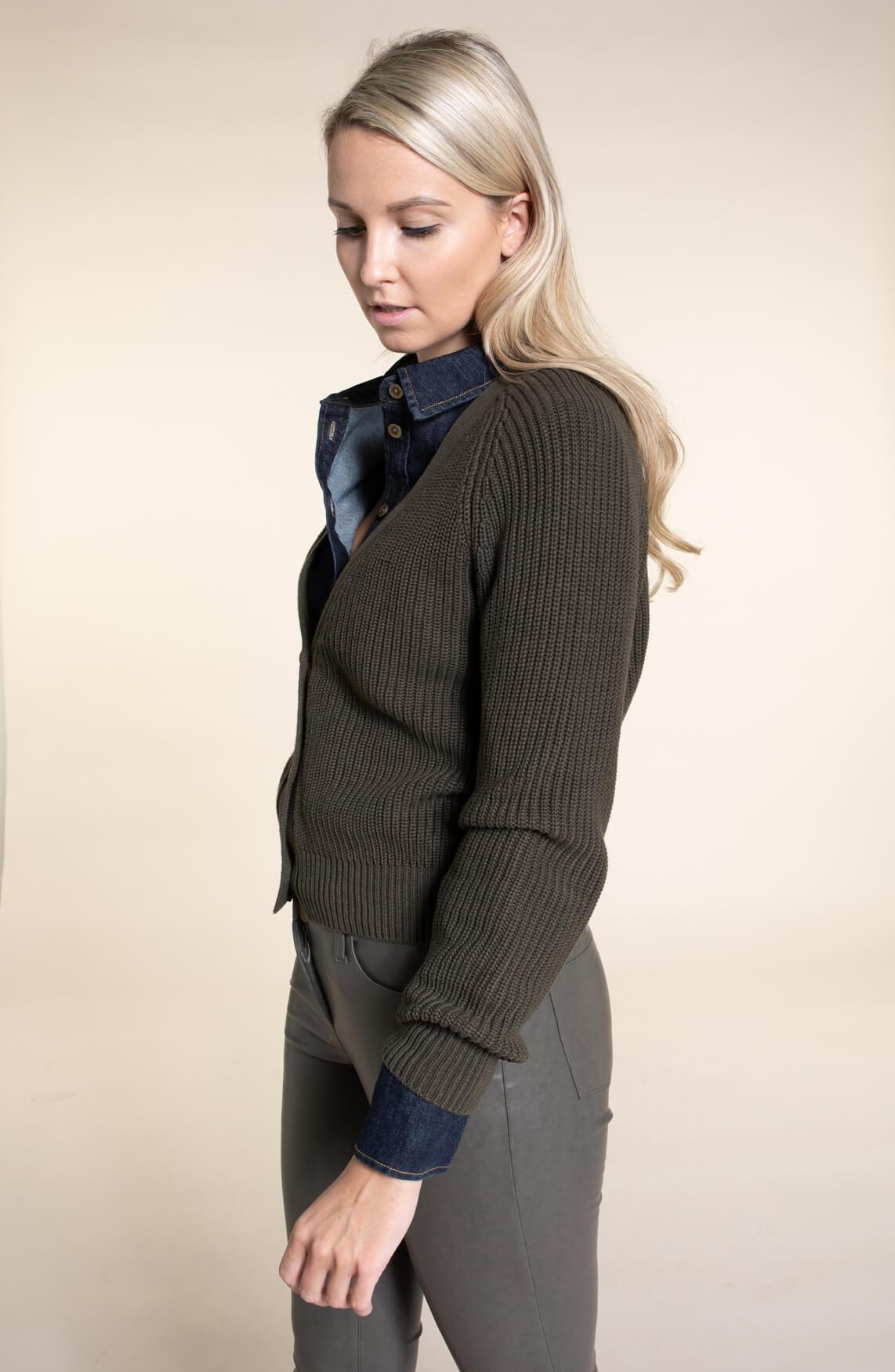 Anna Dames Boxy vest groen