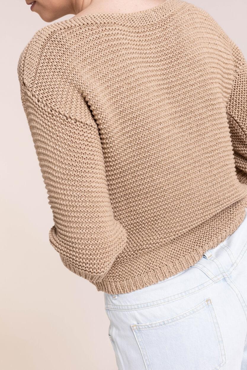 Anna Dames Trui in tricotsteek Bruin
