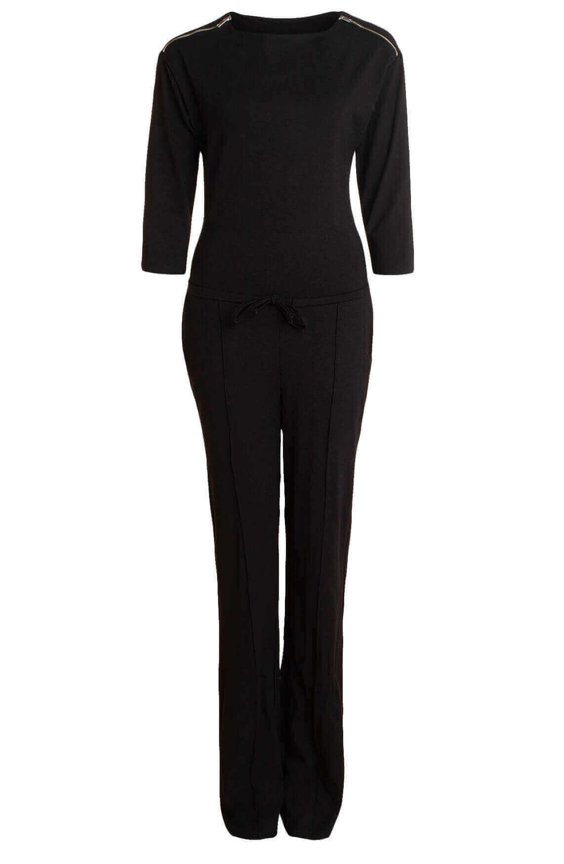 Anna Dames Jumpsuit met ritsen zwart