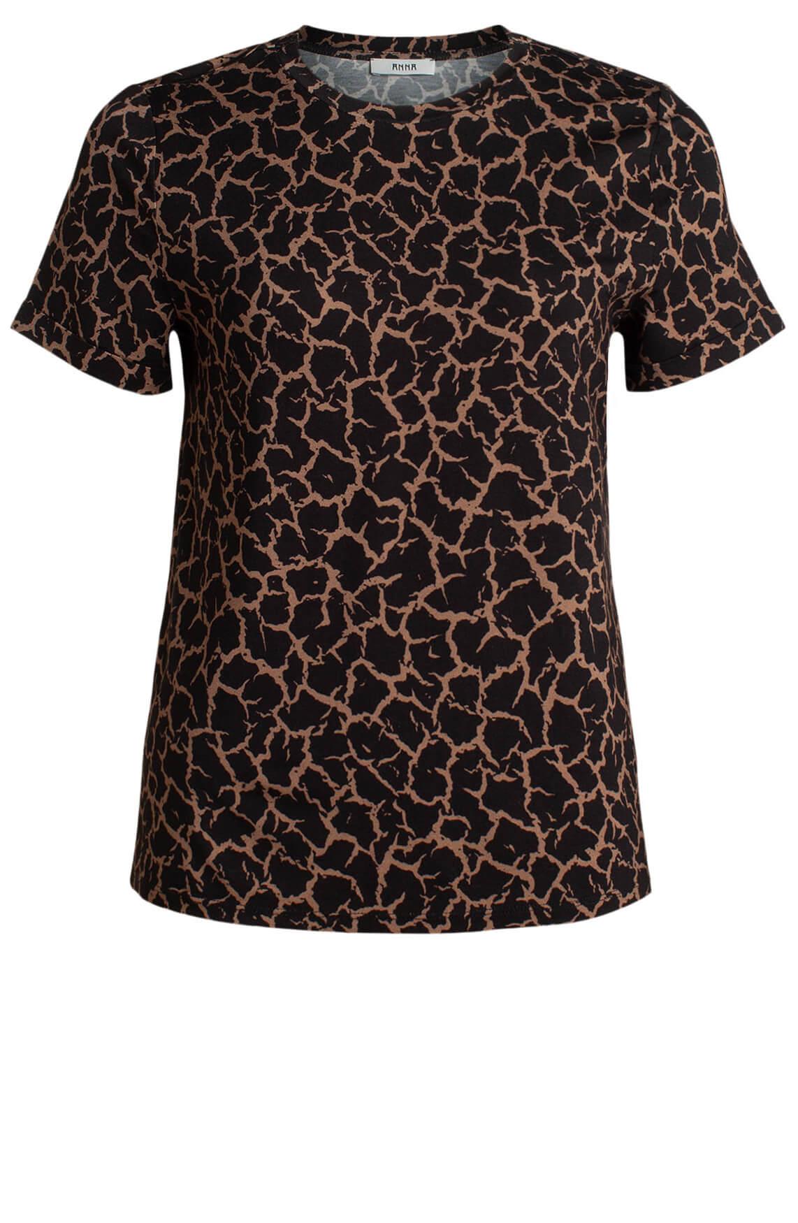 Anna Dames Geprint shirt zwart