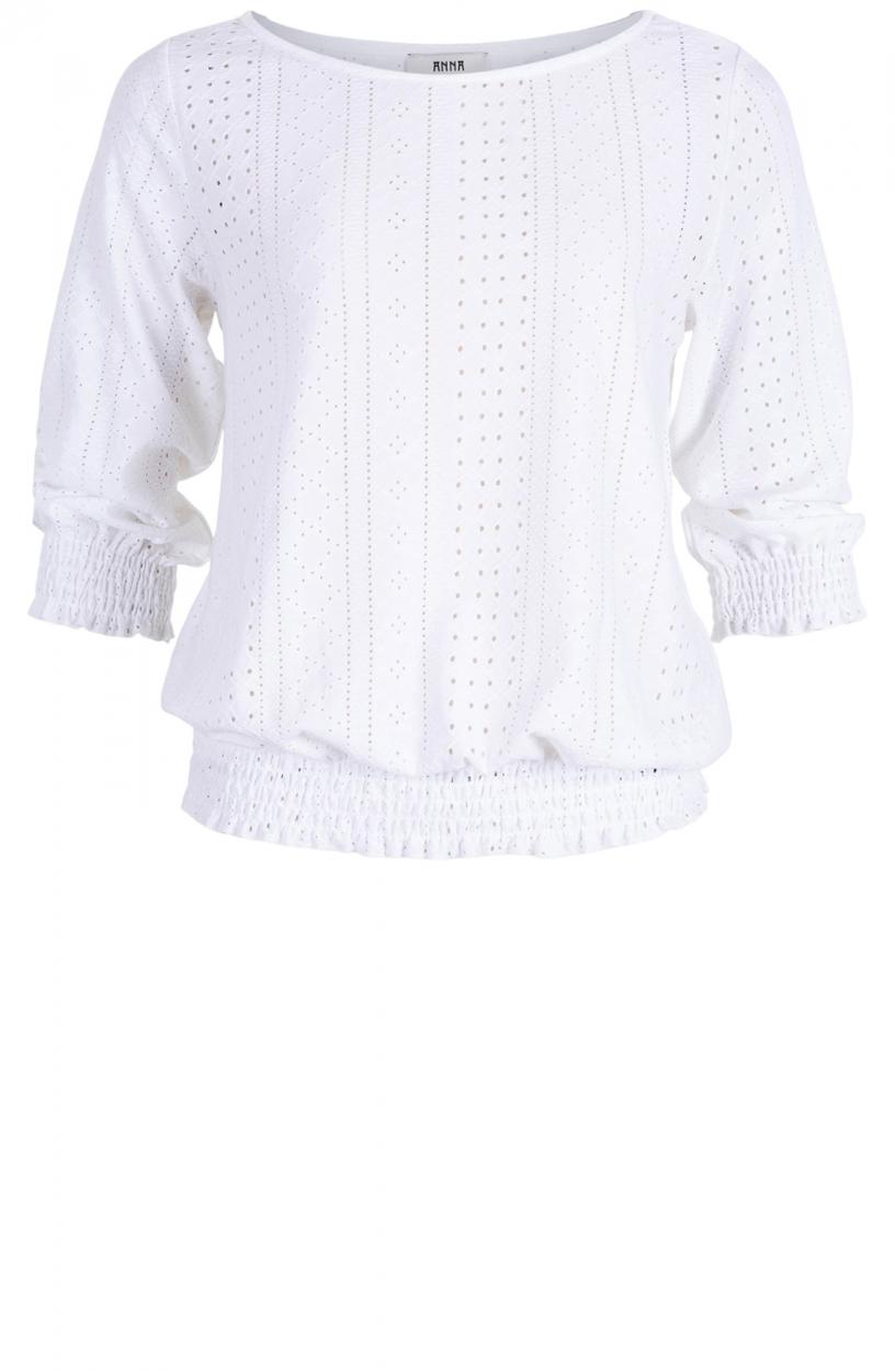 Anna Dames Broderie shirt Wit