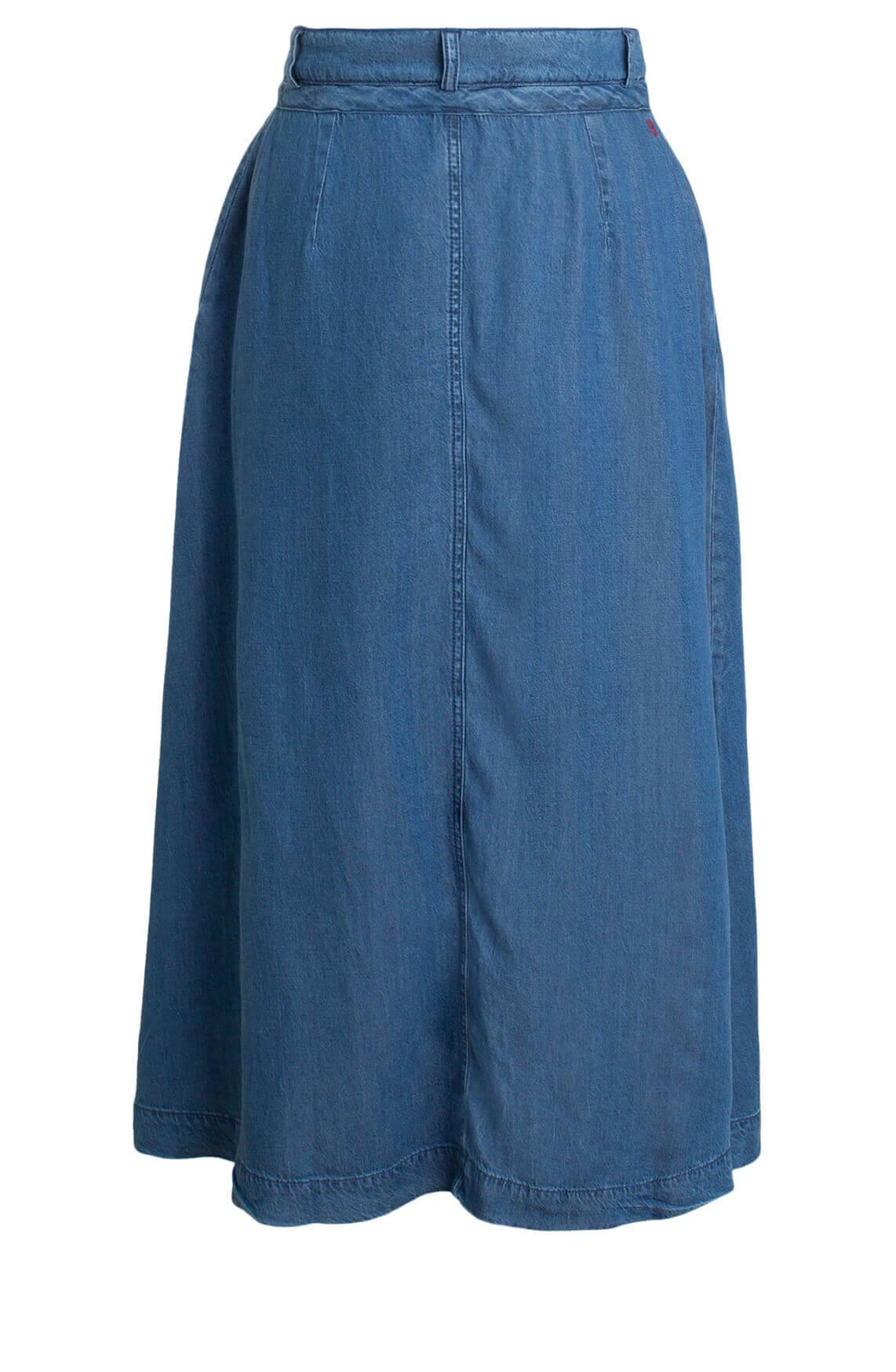 Anna Blue Dames Midi jeans rok Blauw