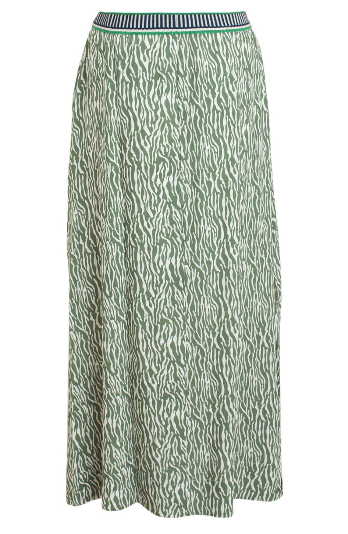 Anna Blue Dames Maxi rok met zebraprint groen