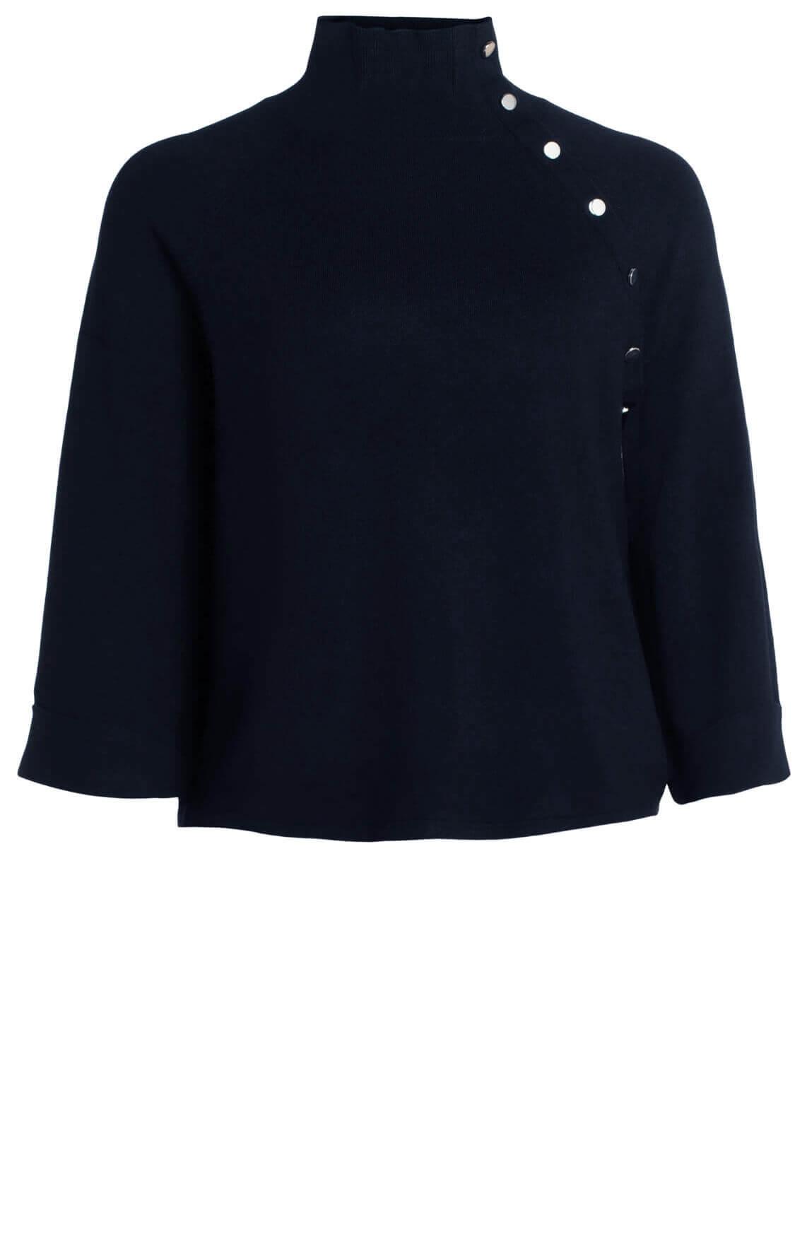 Anna Dames Pullover met sierknoopjes Blauw