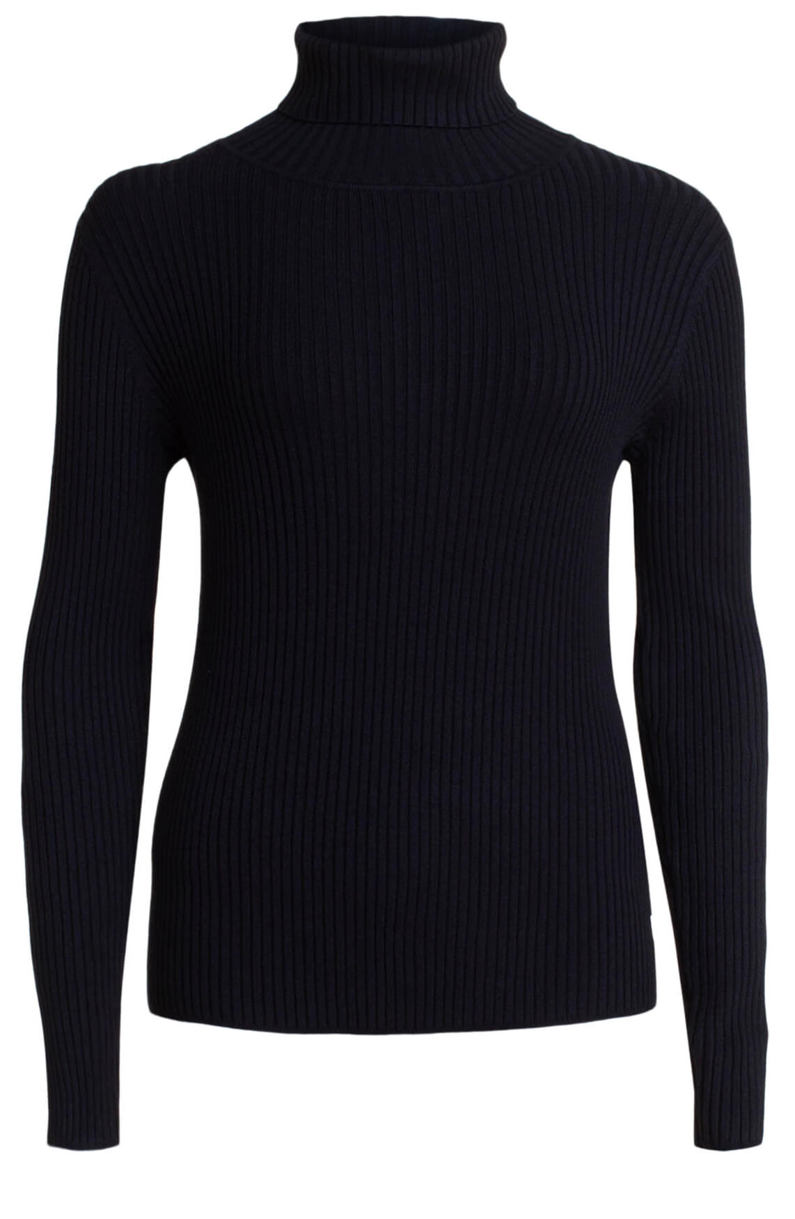 Anna Dames Ribgebreide pullover zwart