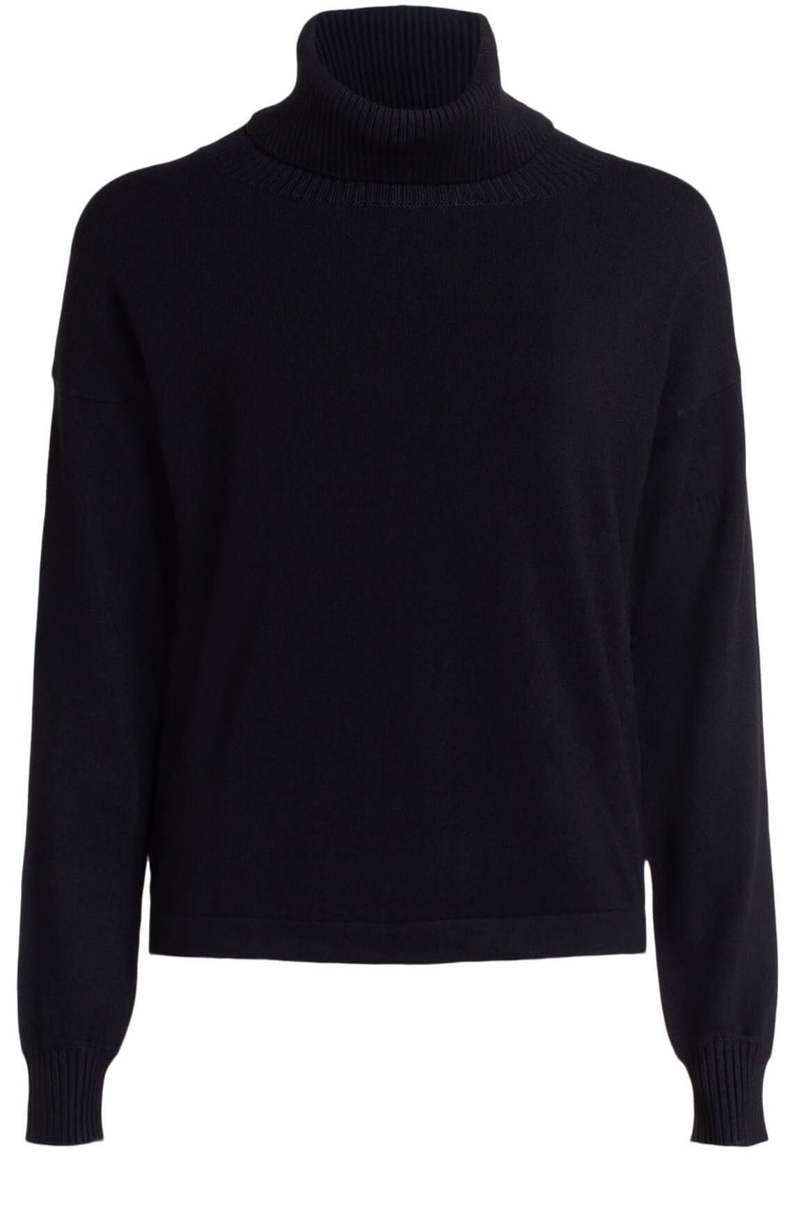 Anna Dames Pullover met gebreide col zwart