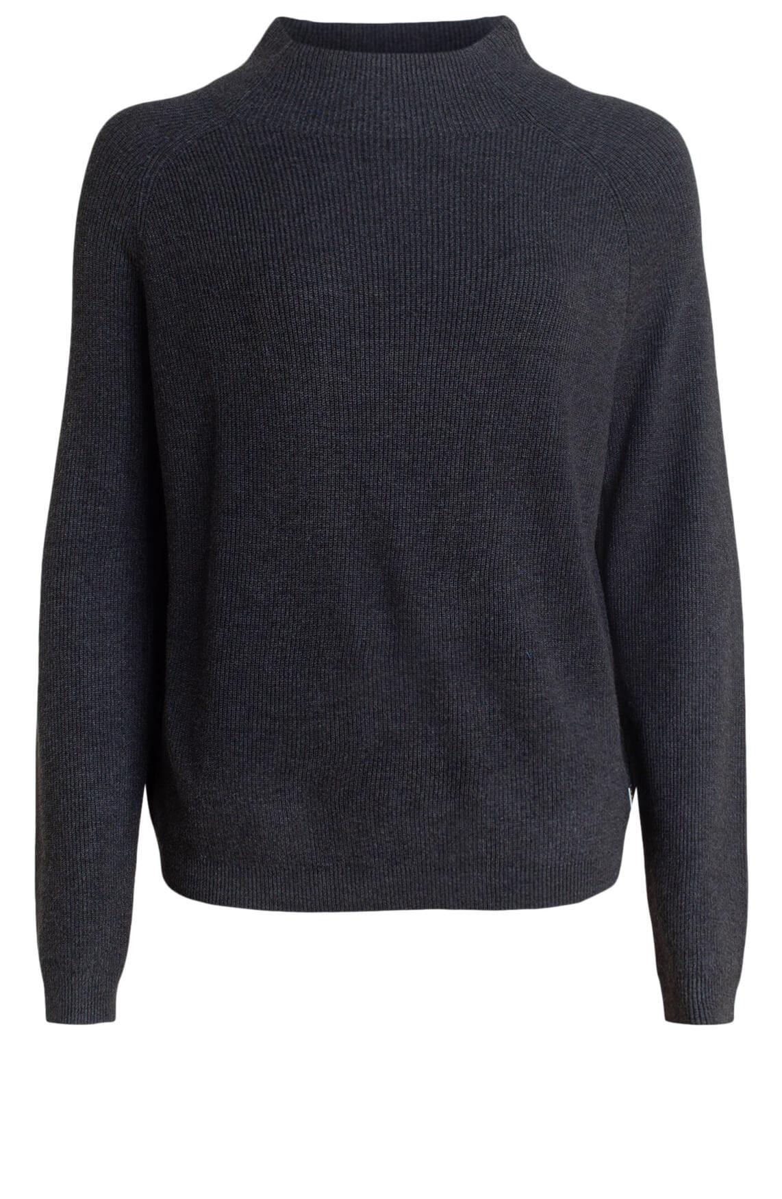 Anna Dames Pullover met hoge kraag Grijs