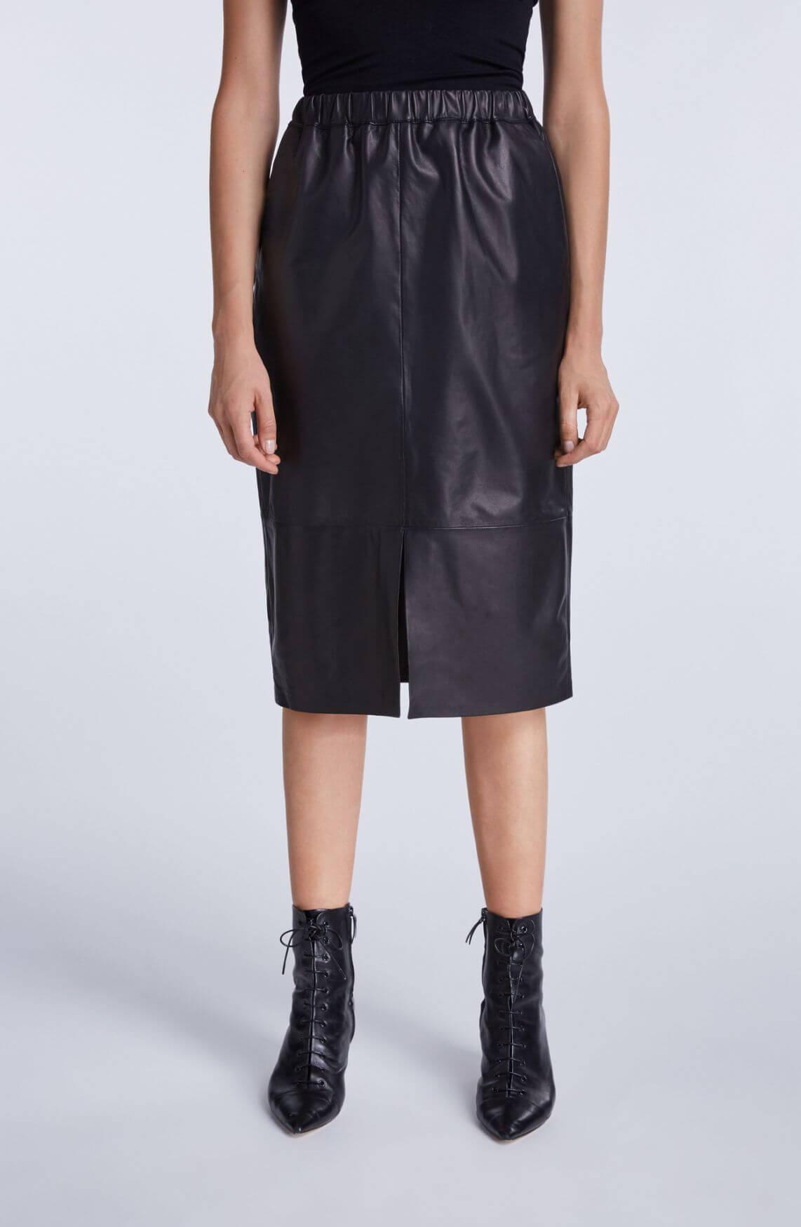Set Dames Leren rok zwart