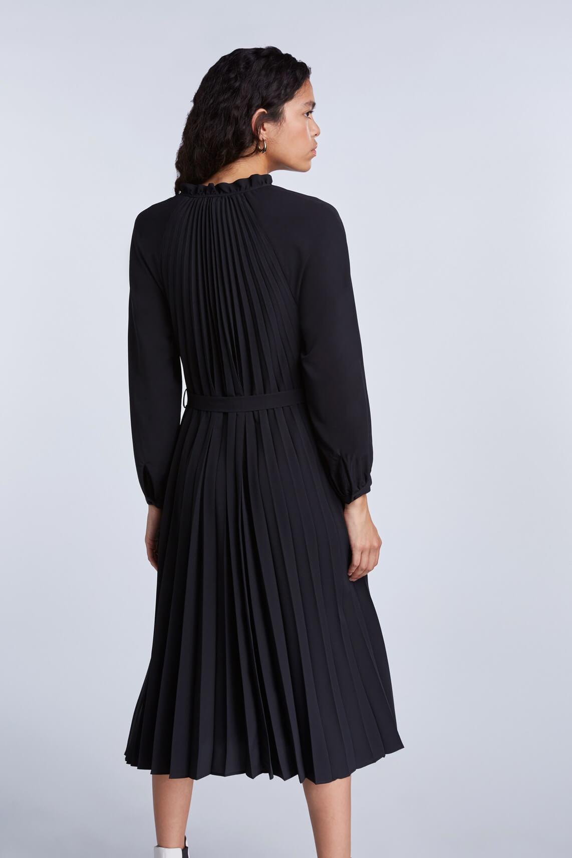 Set Dames Plissé jurk zwart
