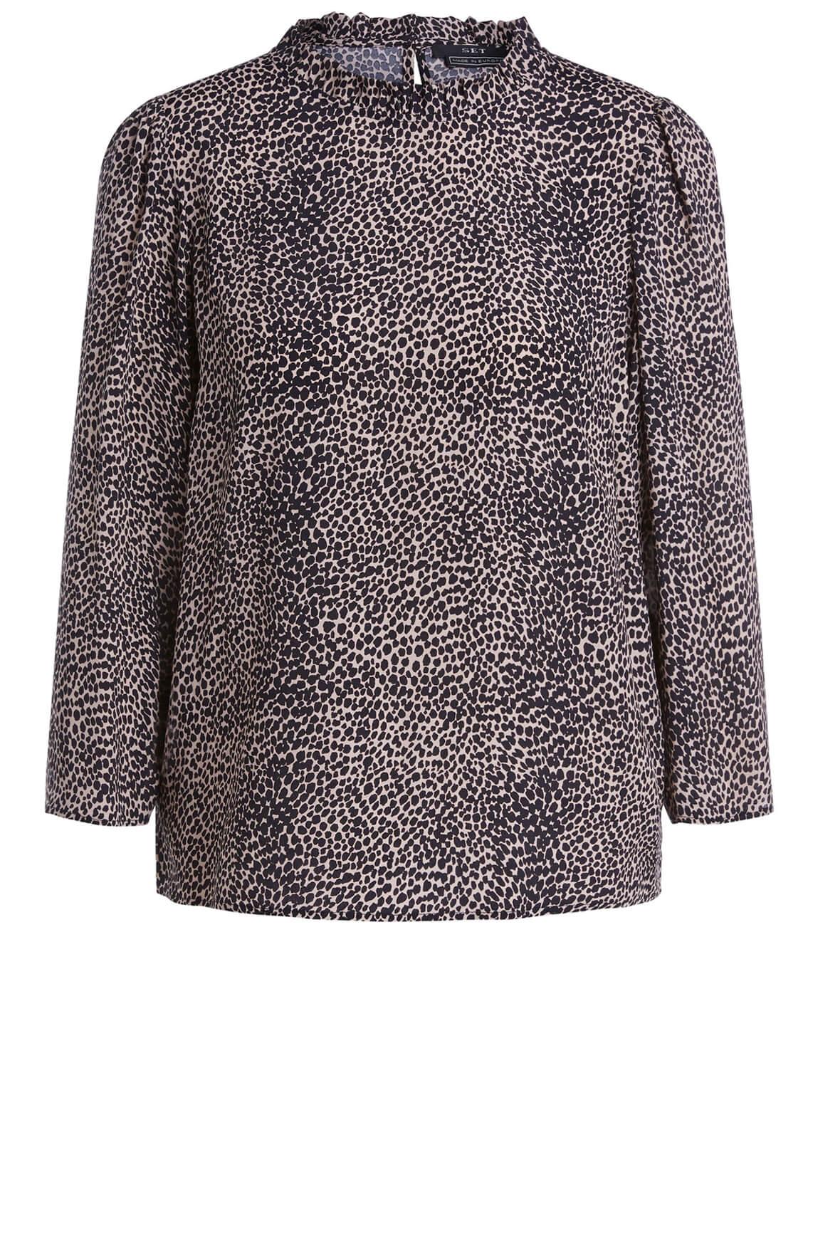 Set Dames Leopard blouse zwart