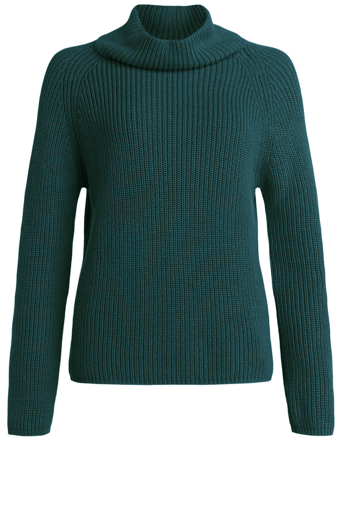 Anna Dames Gebreide pullover met colkraag groen