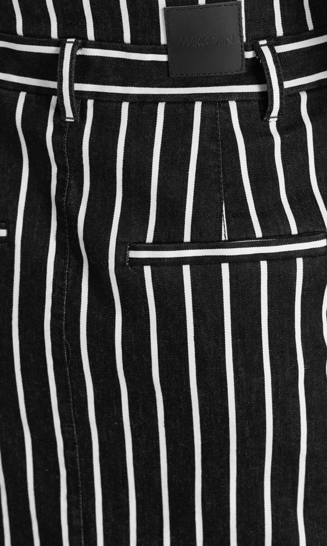 Marccain Sports Dames Gestreepte jeansrok zwart