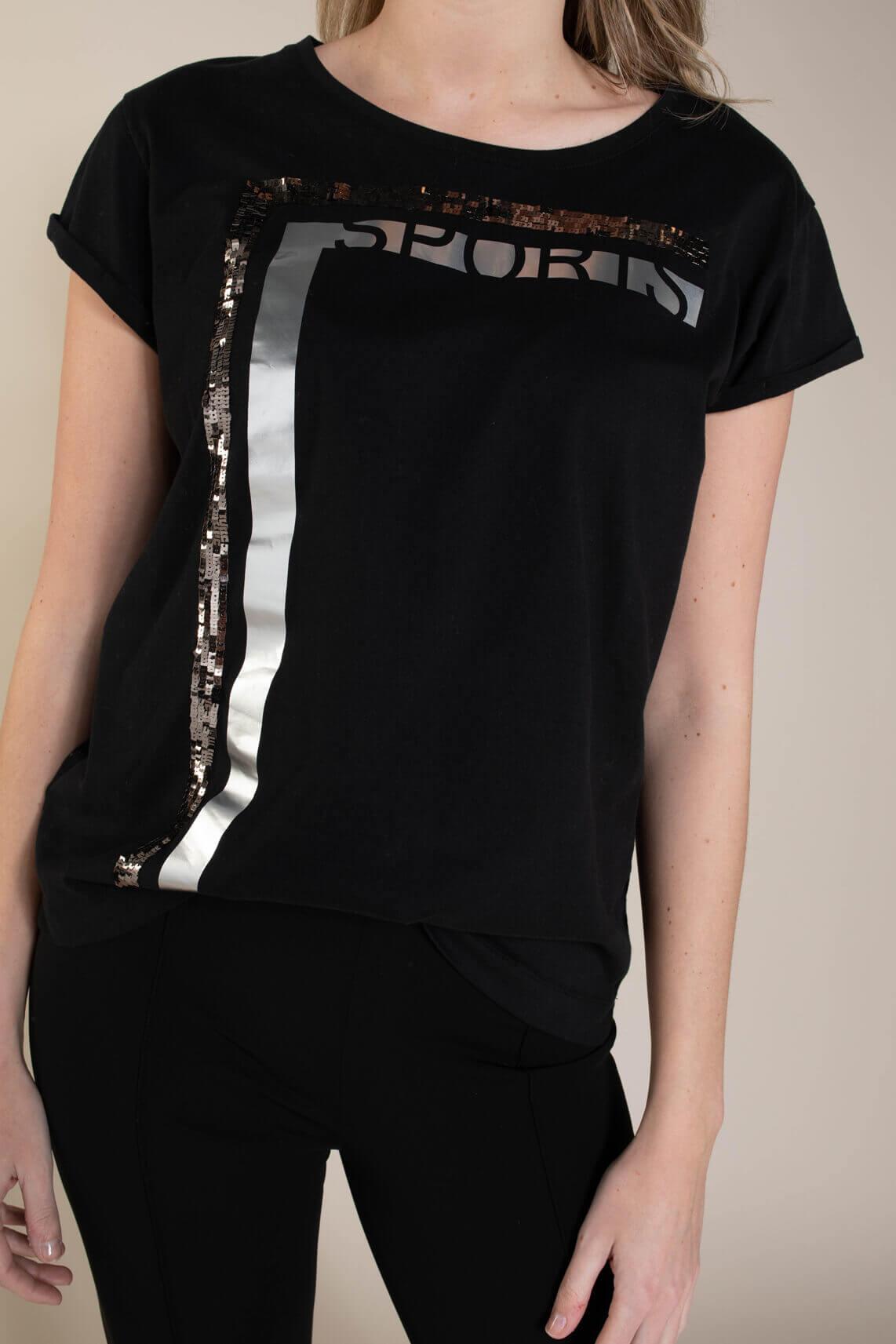 Marccain Sports Dames Shirt met pailletten zwart