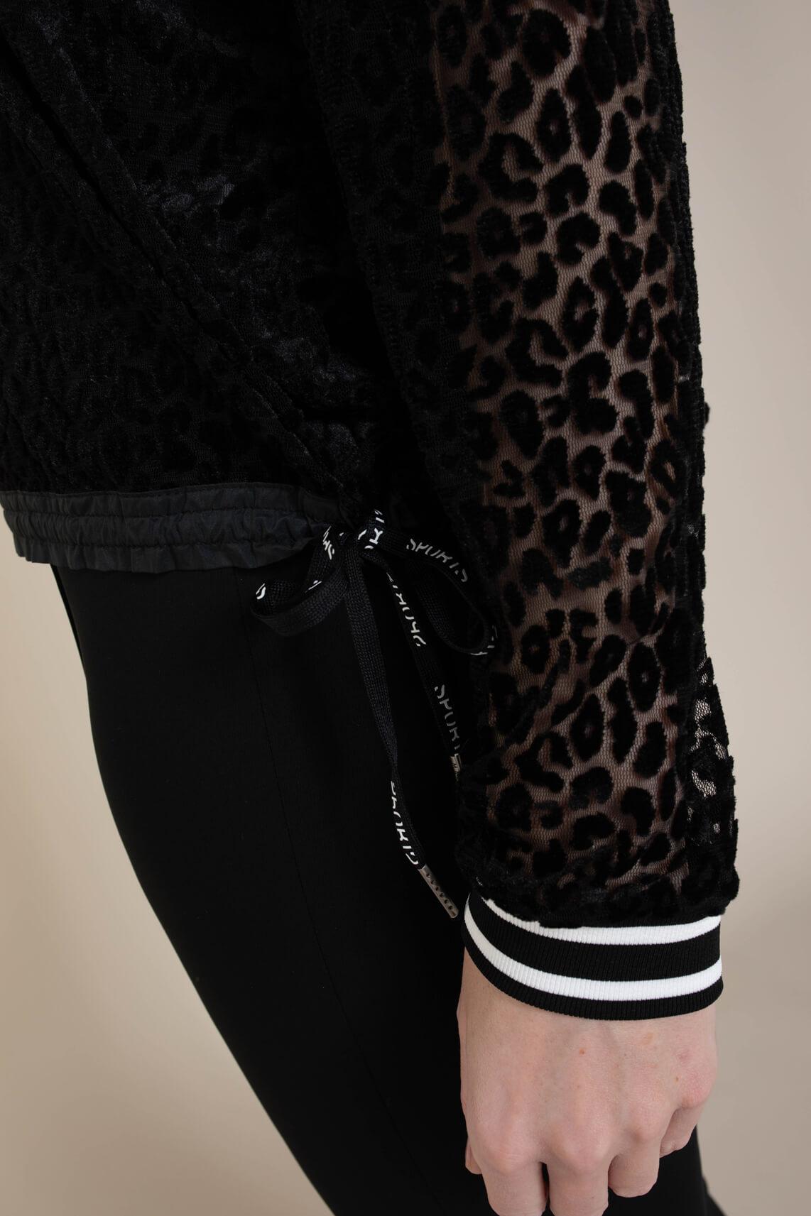 Marccain Sports Dames Shirt met velvet panterprint zwart