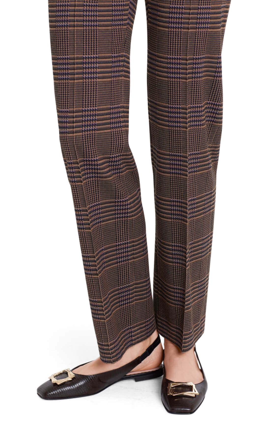 Marccain Dames Geruite pantalon Bruin