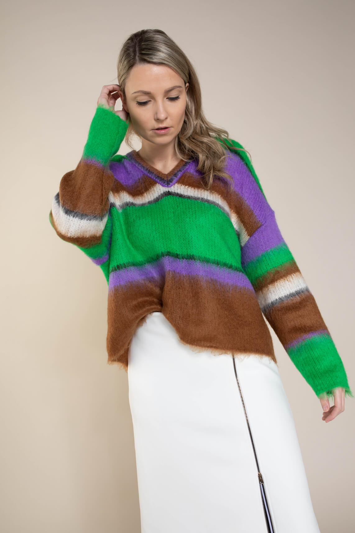 Marccain Dames Colorblock pullover groen