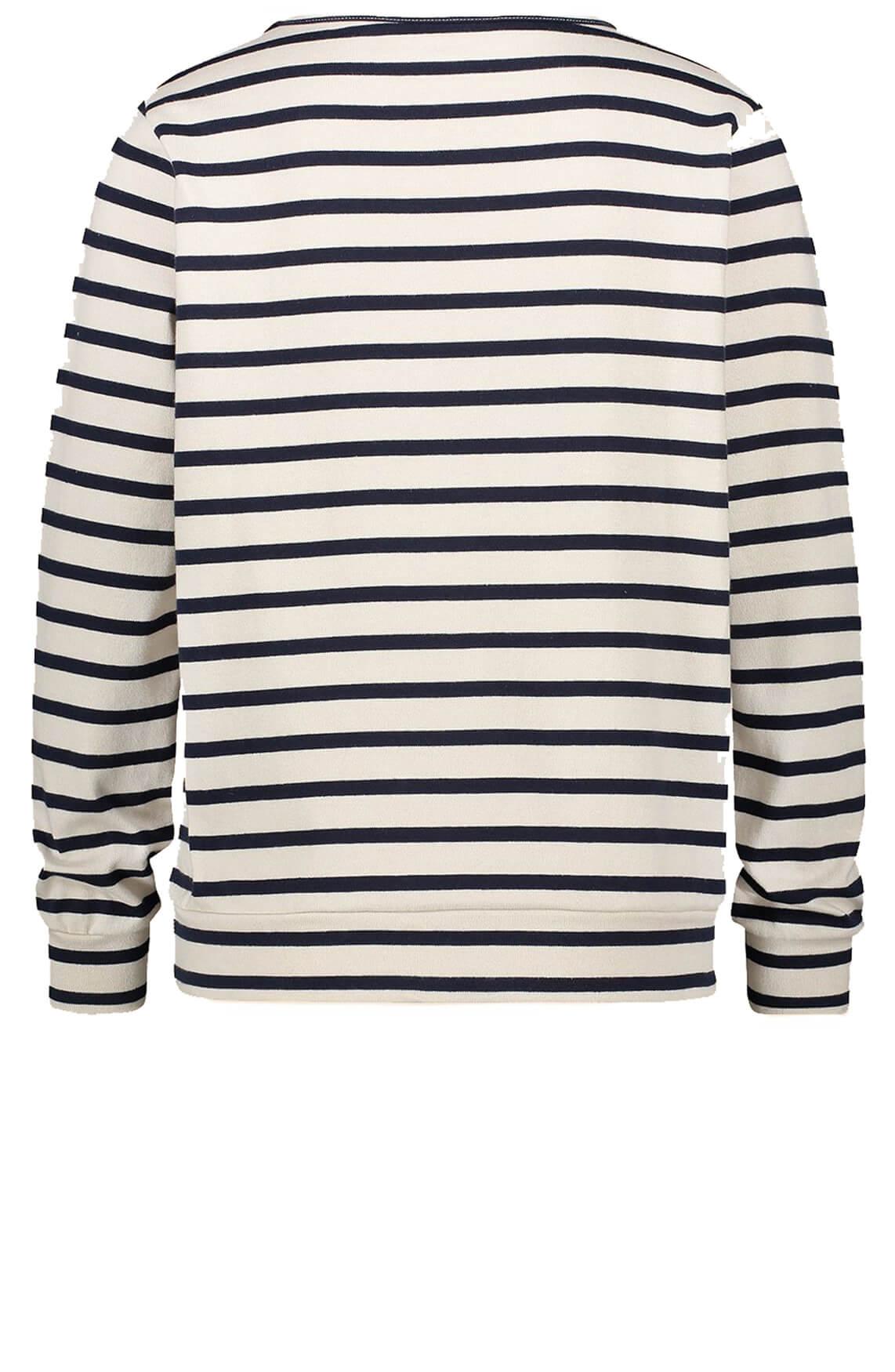 Penn & Ink Dames Gestreept sweatshirt Blauw