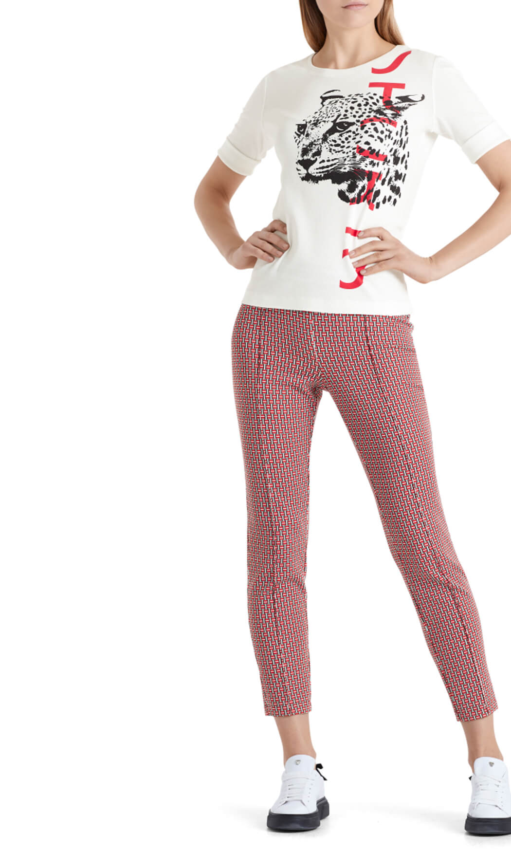 Marccain Sports Dames Shirt met luipaardkop wit