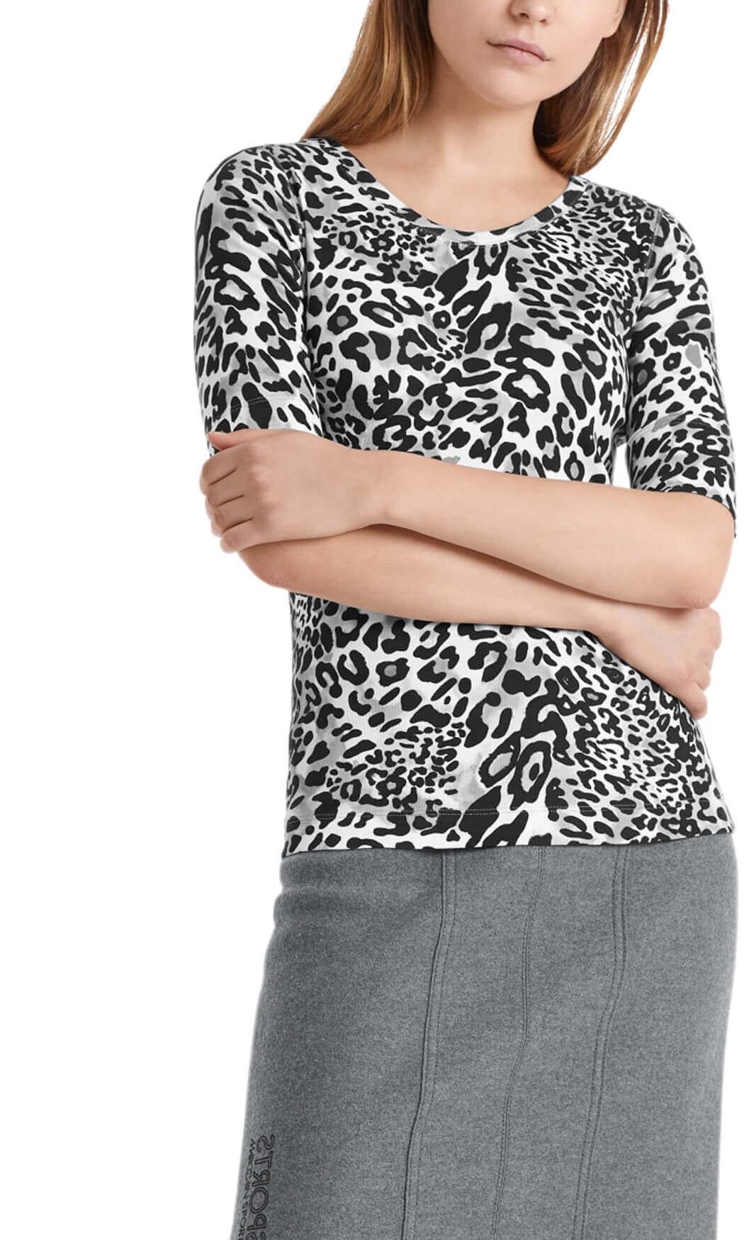 Marccain Sports Dames Jersey luipaardshirt Grijs