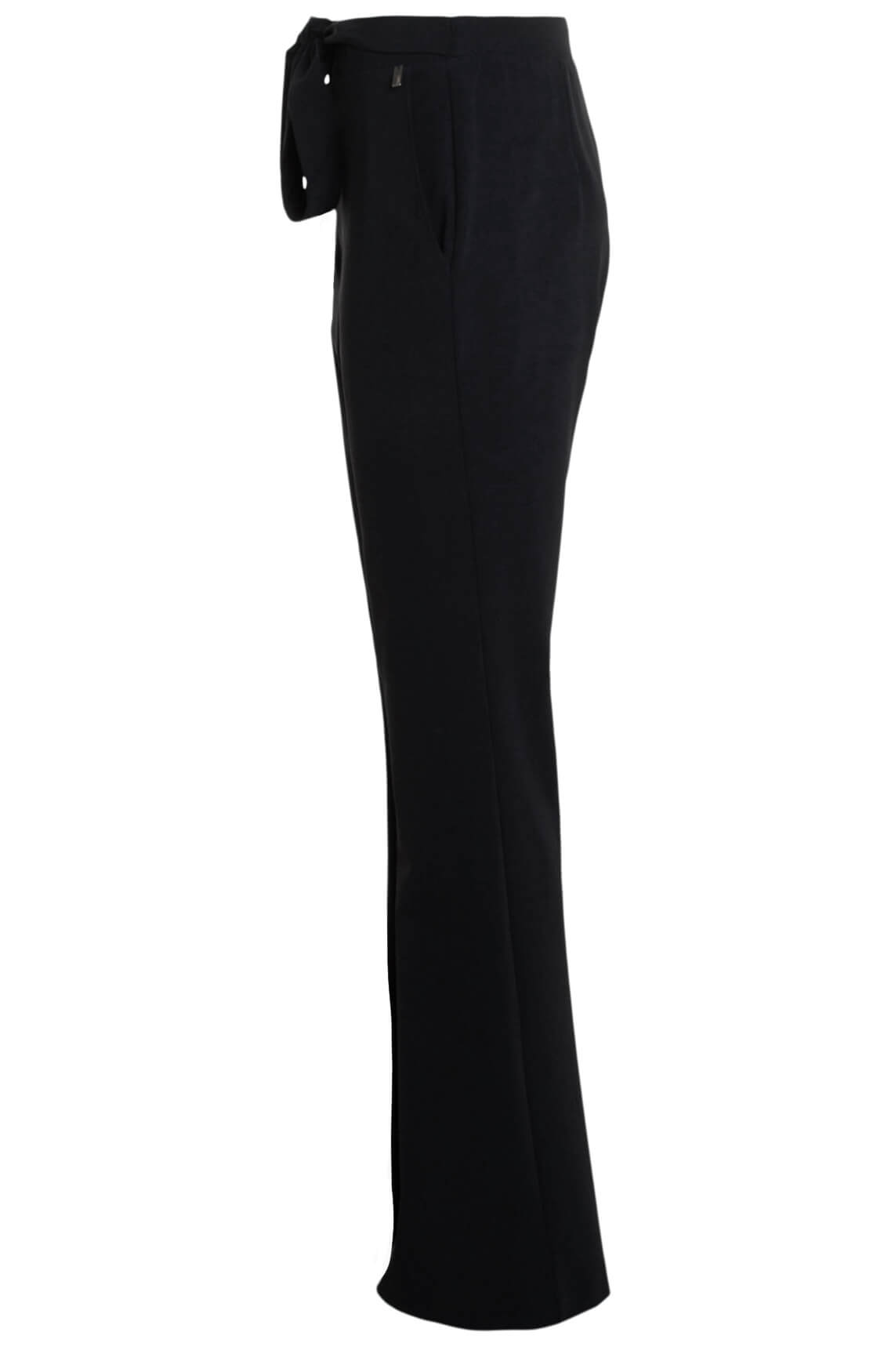 Anna Dames Flared jersey sensitive broek zwart
