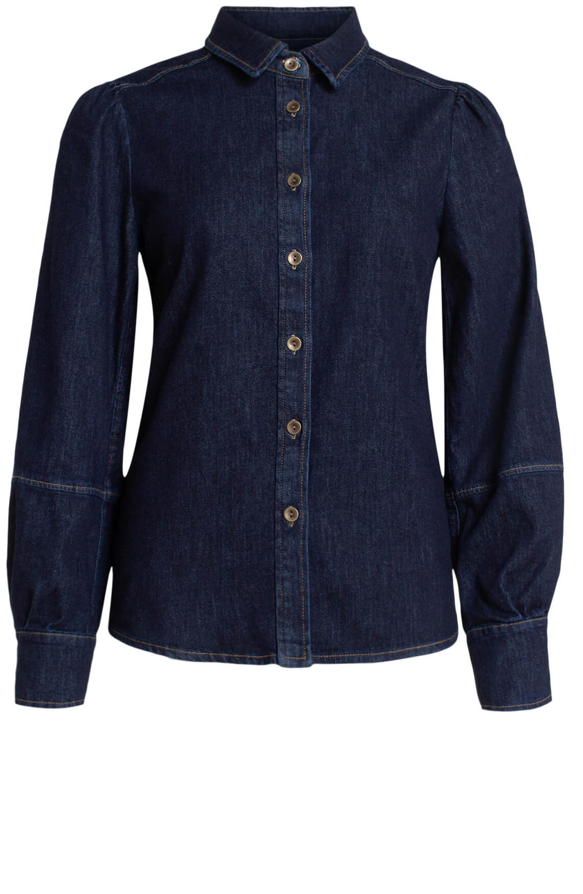 Anna Dames Denim blouse Blauw