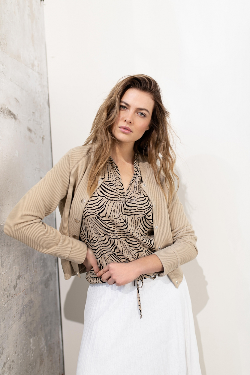 Anna Dames Animal blouse Bruin