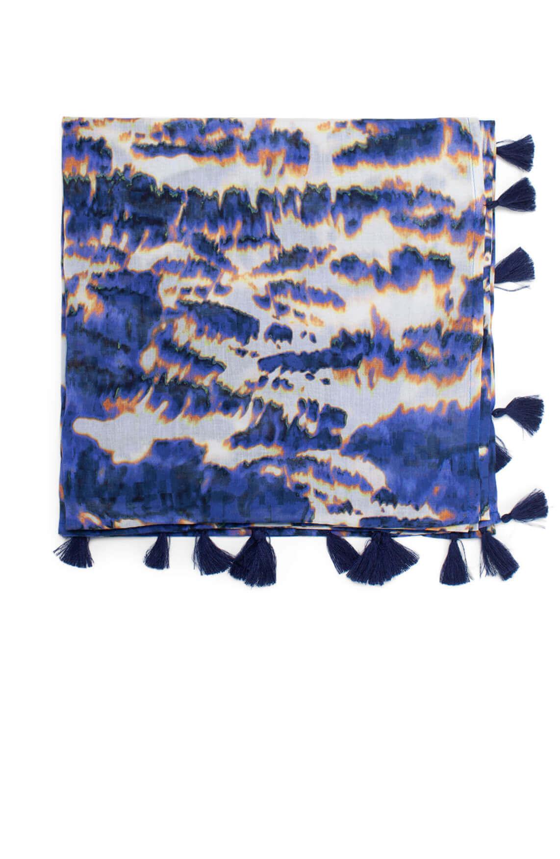 Anna Blue Dames Tie dye shawl Blauw