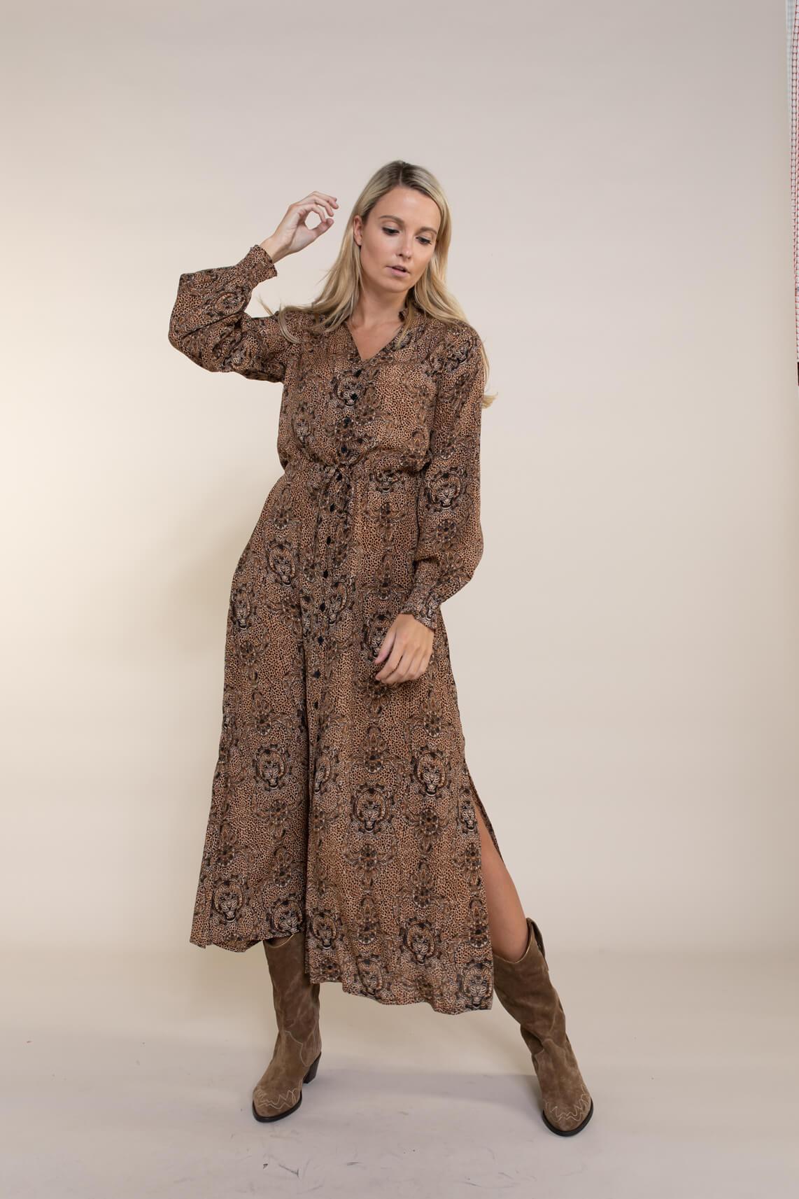 Alix The Label Dames Animal jurk Bruin