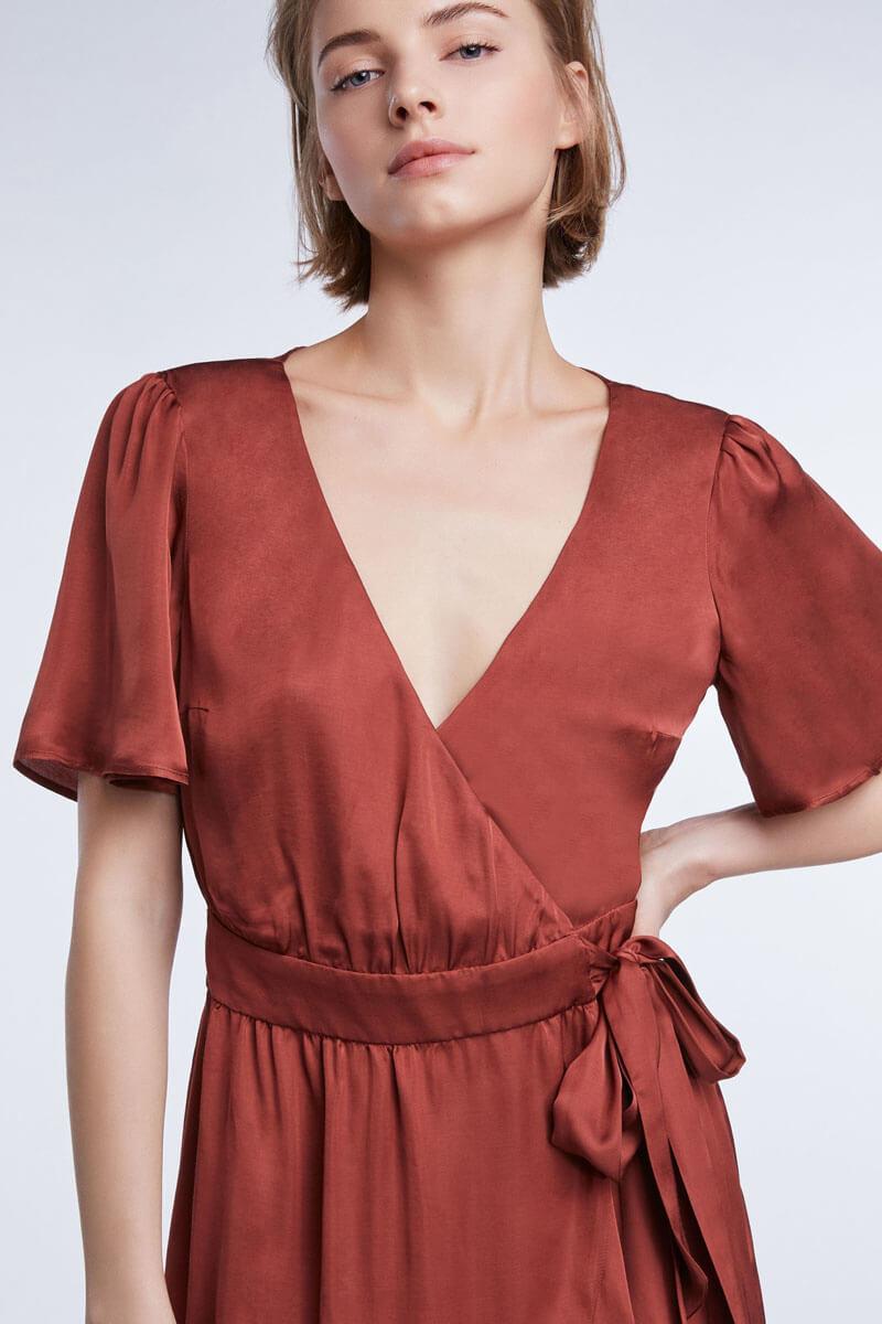 Set Dames Overslag jurk Rood