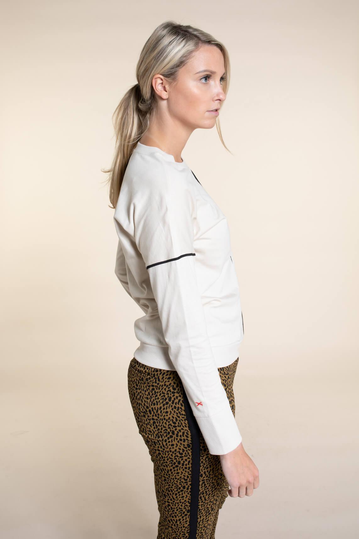Anna Blue Dames Shirt met streep Ecru