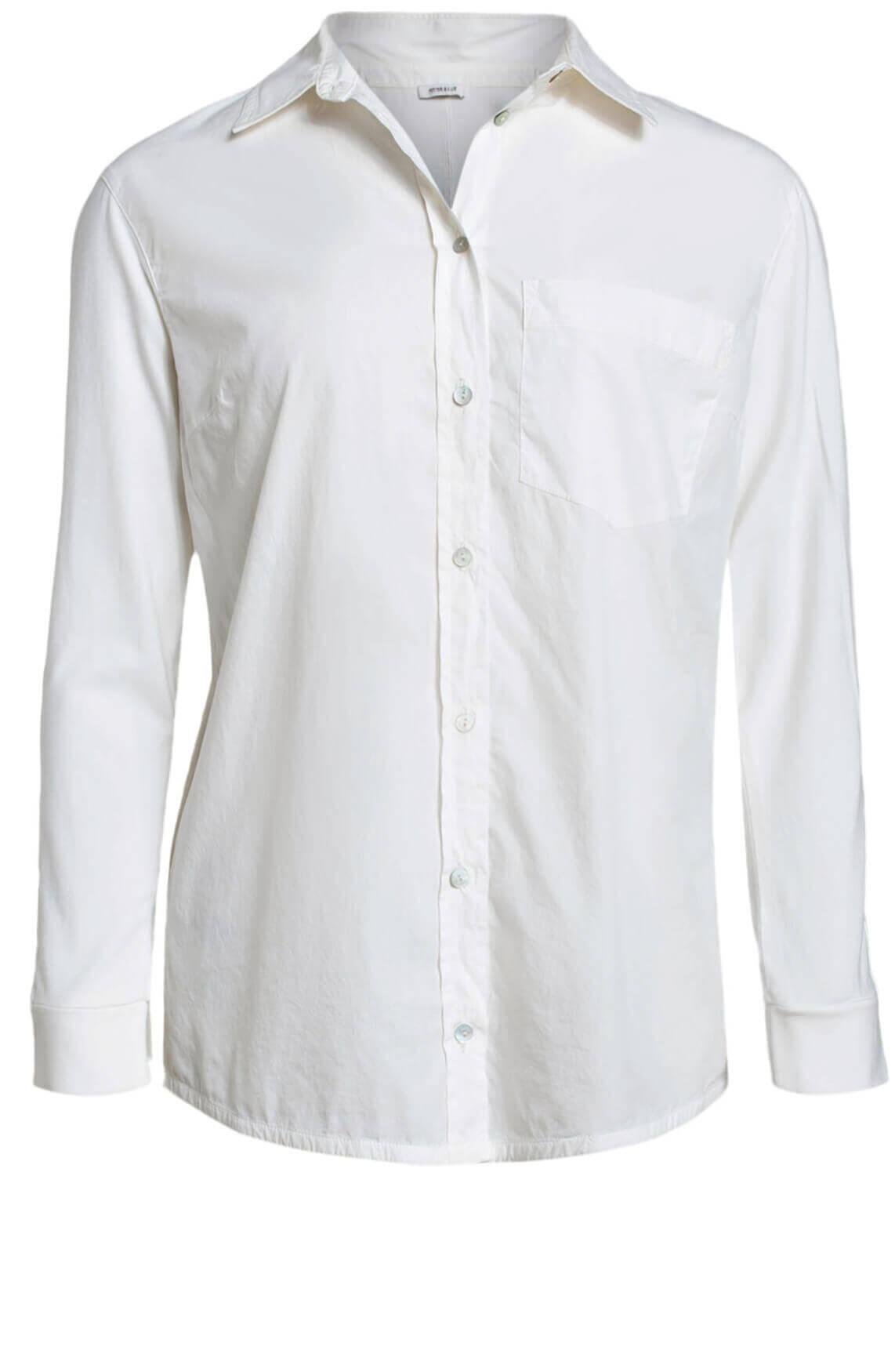 Anna Blue Dames Materiaalmix blouse wit