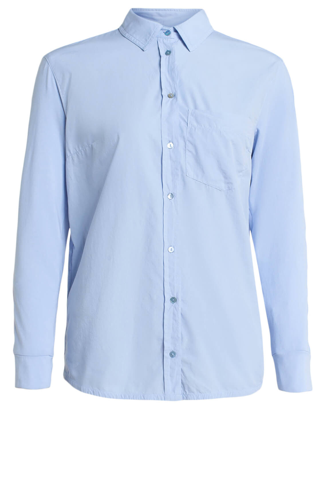 Anna Blue Dames Materiaalmix blouse Blauw