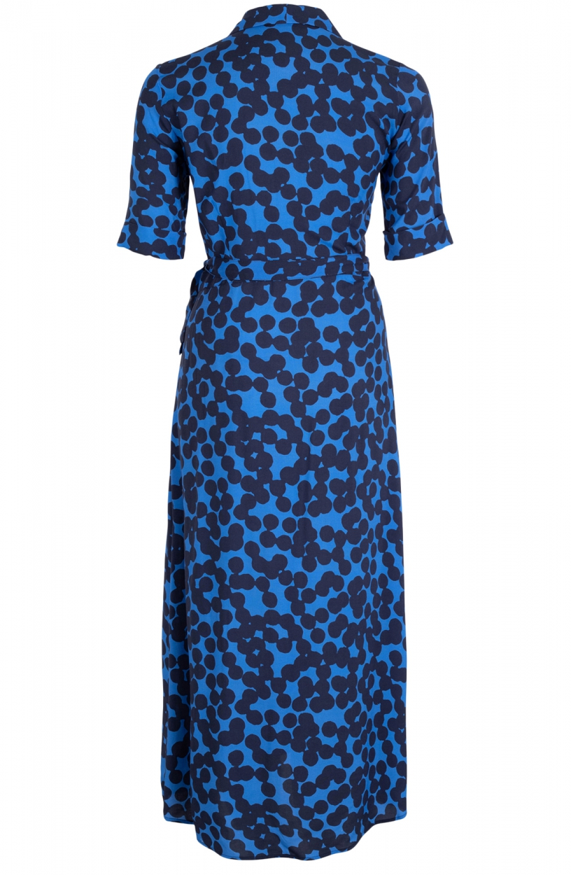 Anna Dames Stippen jurk Blauw