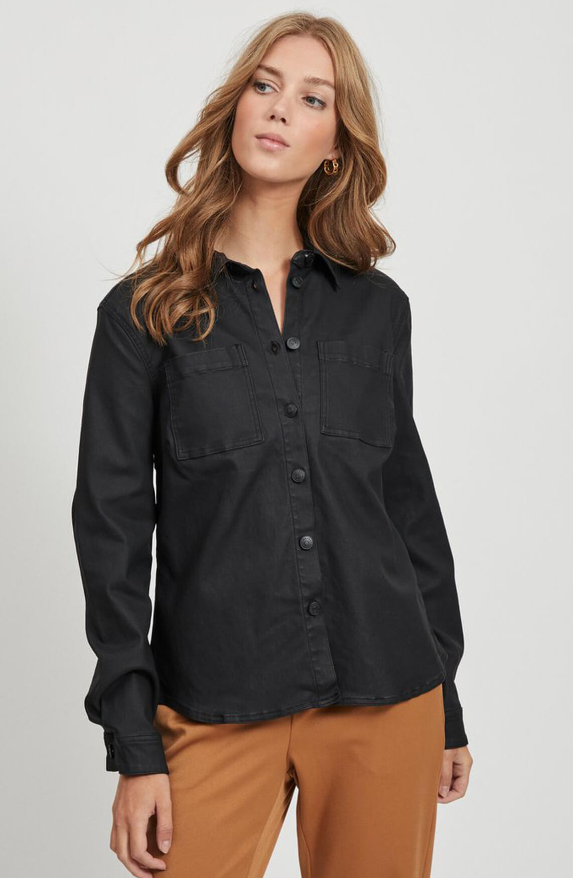 Object Dames Gecoate blouse zwart