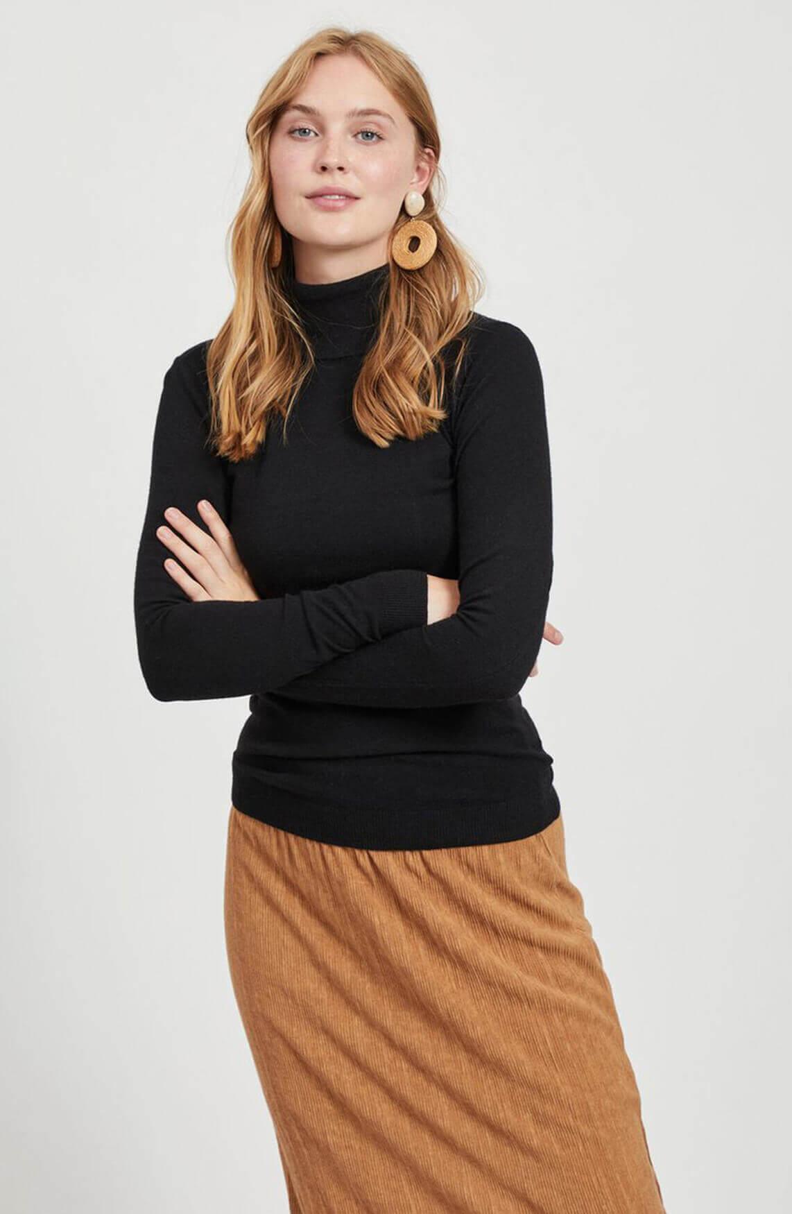 Object Dames Thess pullover met colkraag zwart
