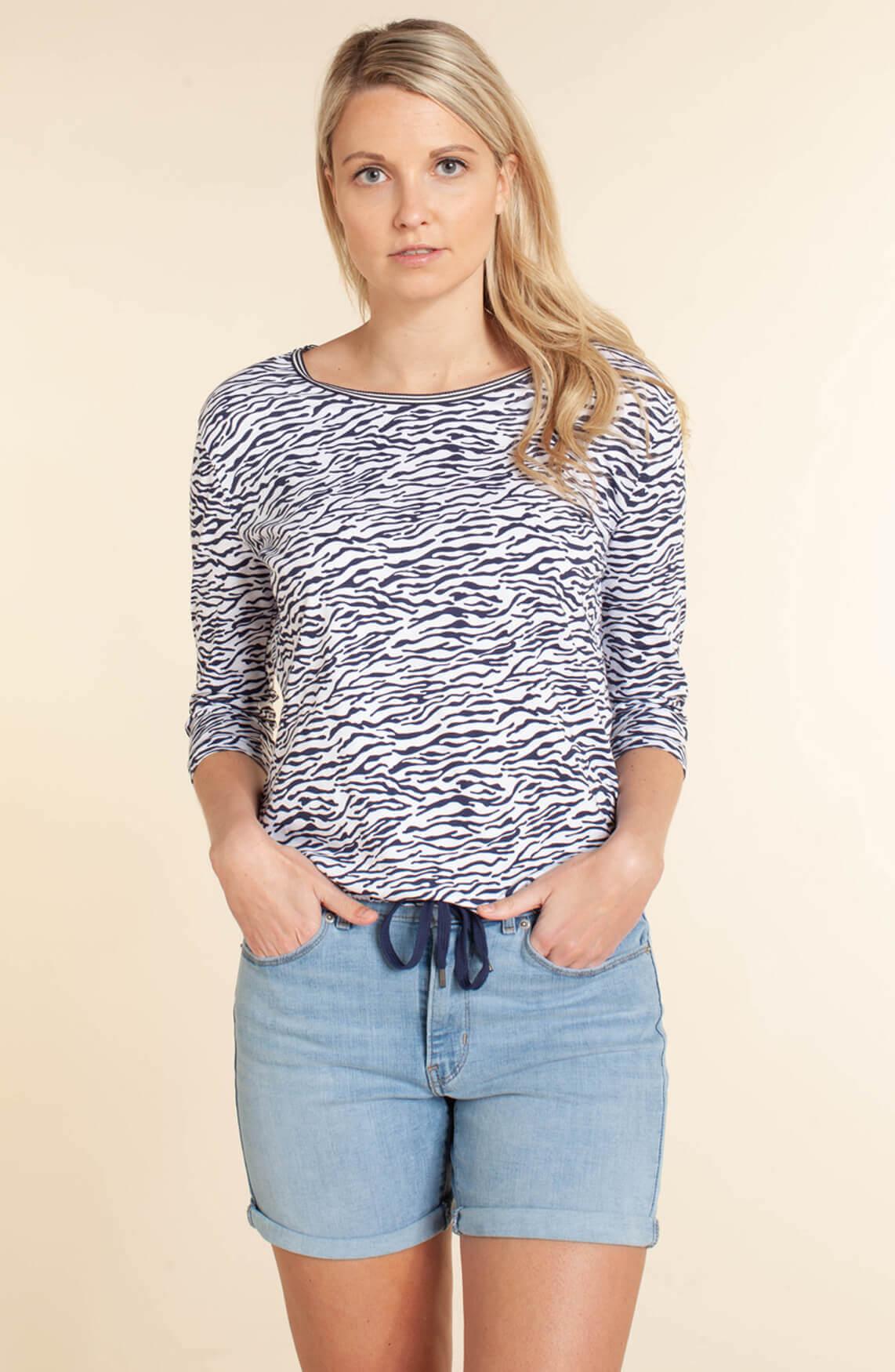 Anna Blue Dames Shirt met zebraprint Blauw