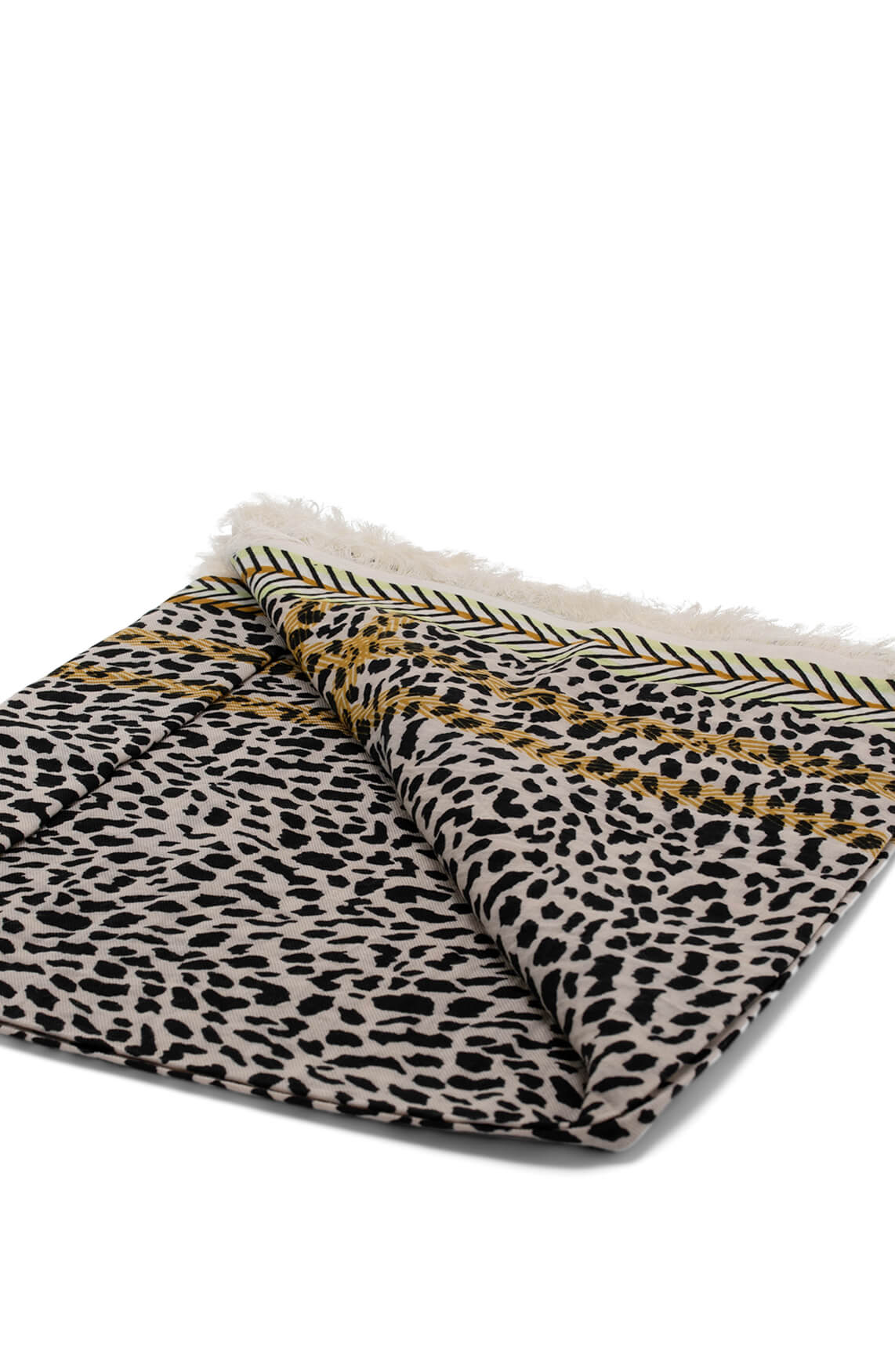 Anna Blue Dames Shawl met animalprint Ecru