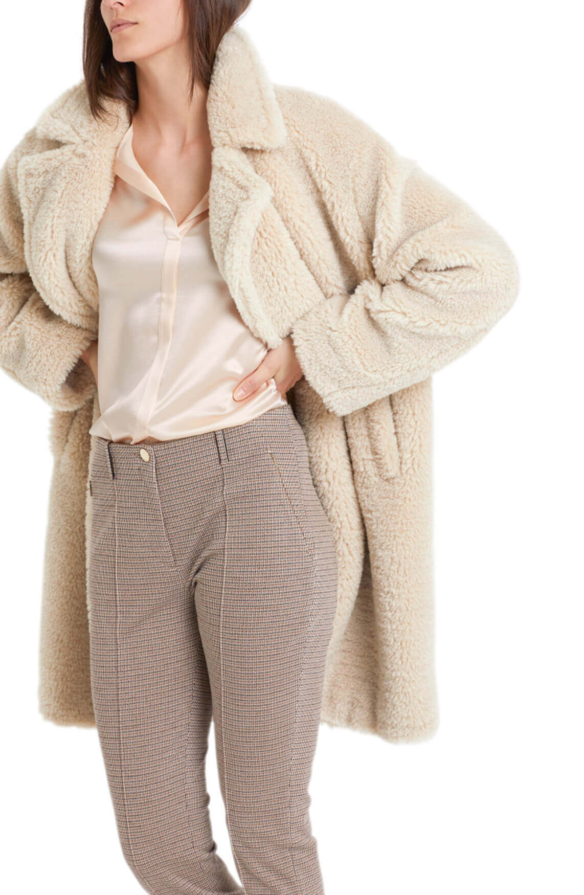 Marccain Dames Pied-de-poule pantalon Bruin