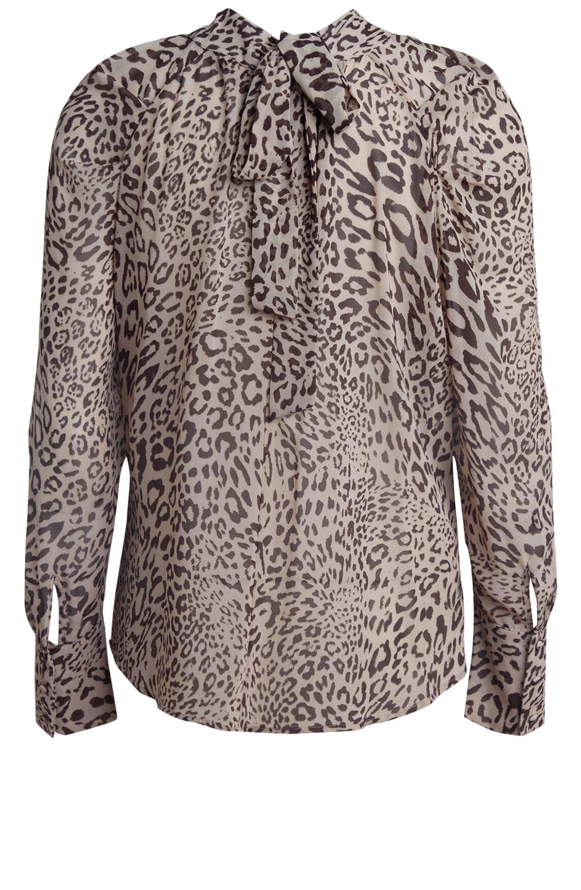 Kocca Dames Rayrt blouse met strik Bruin