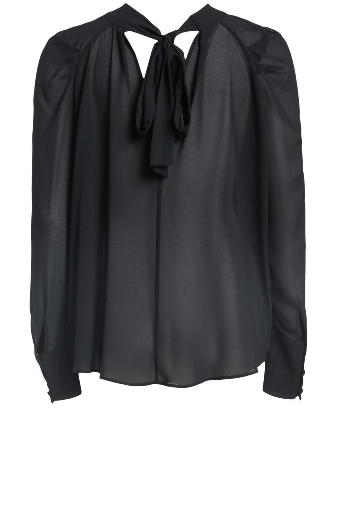 Kocca Dames Rayrt blouse met strik zwart
