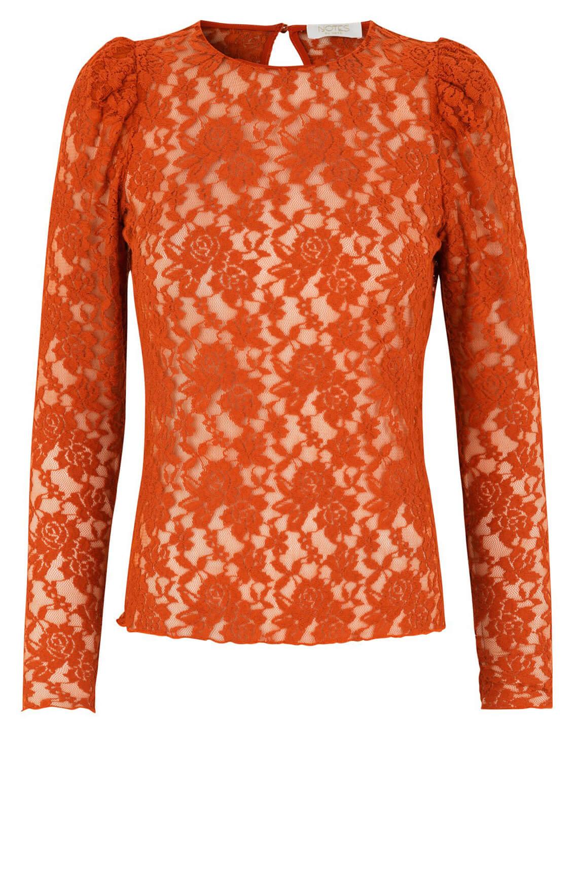 Notes du Nord Dames Rubina kanten shirt Oranje